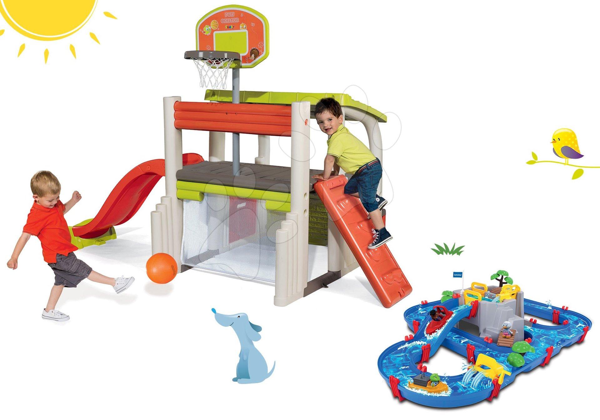 Set hrací centrum Fun Center Smoby se skluzavkou, vodní dráha AquaPlay Mountain Lake od 24 měsíců