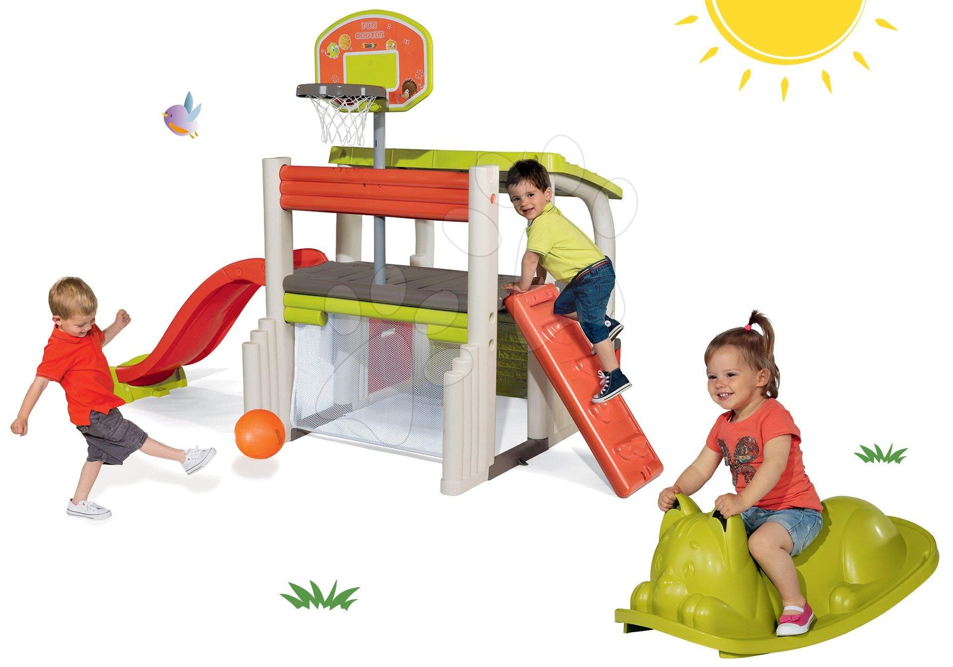 Set hracie centrum Fun Center Smoby so šmykľavkou a zelená hojdačka Kocúr od 24 mes