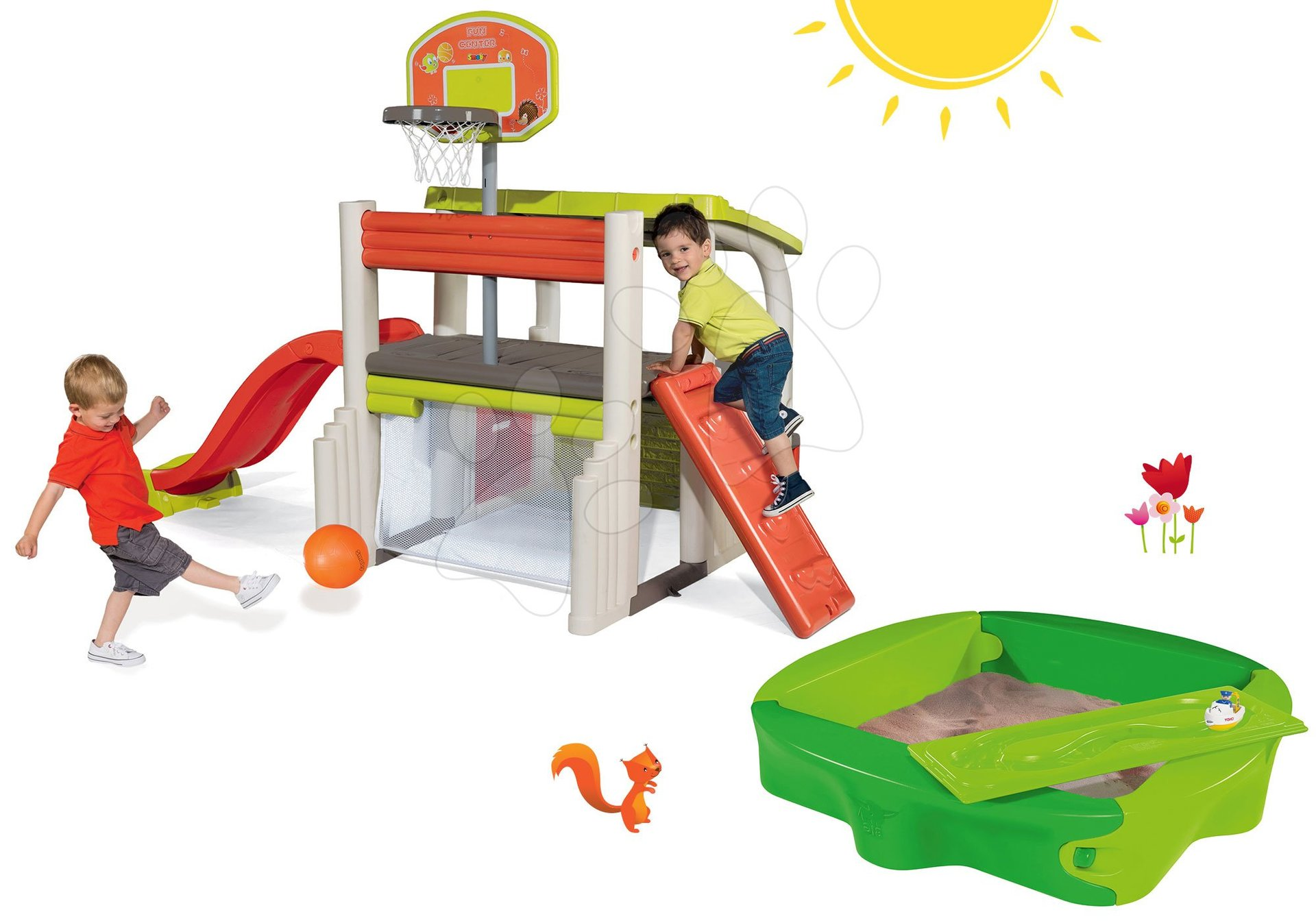 Set hracie centrum Fun Center Smoby so šmykľavkou a pieskovisko Sandy s krytom od 24 mes