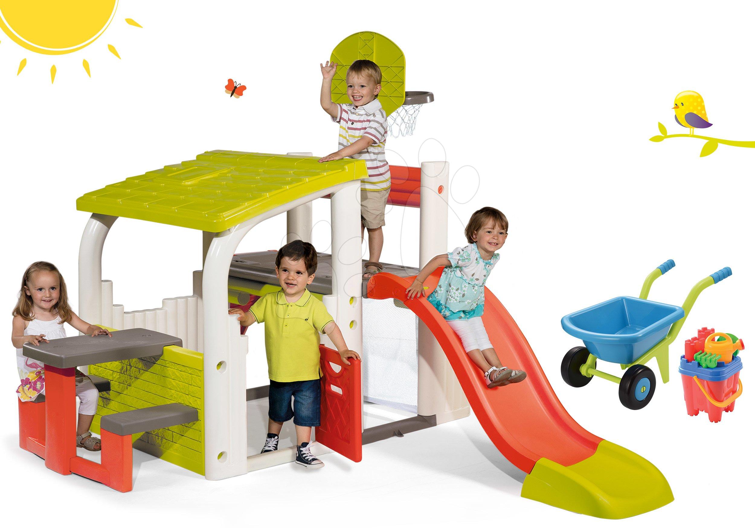 Set hrací centrum Fun Center Smoby se skluzavkou 150 cm a kolečko s kbelík setem od 24 měsíců