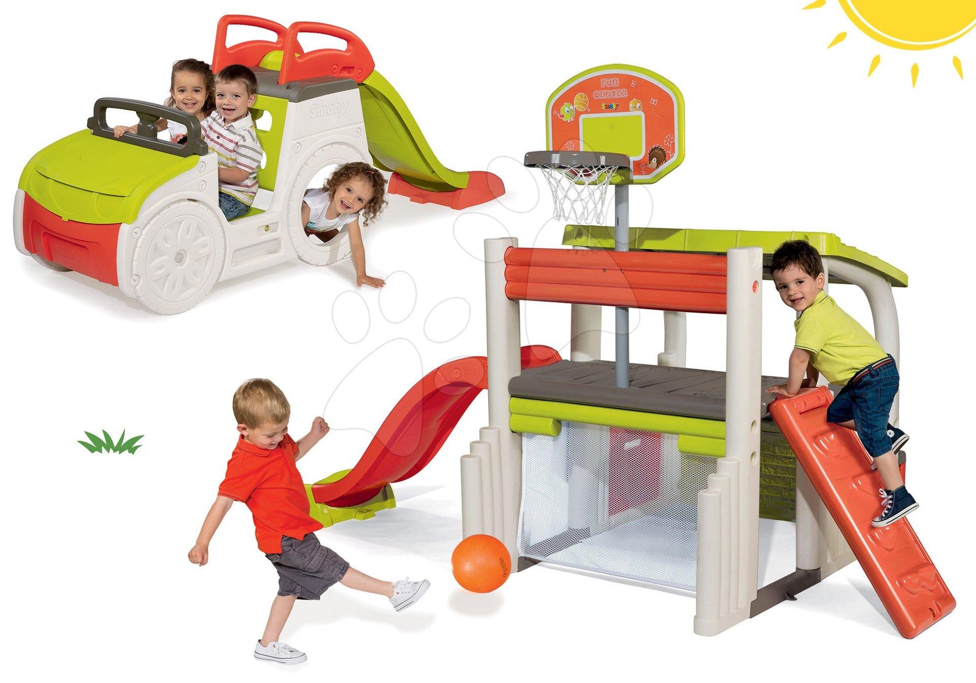 Set hracie centrum Fun Center Smoby so šmykľavkou 150 cm a preliezačka Adventure Car s pieskoviskom od 24 mes