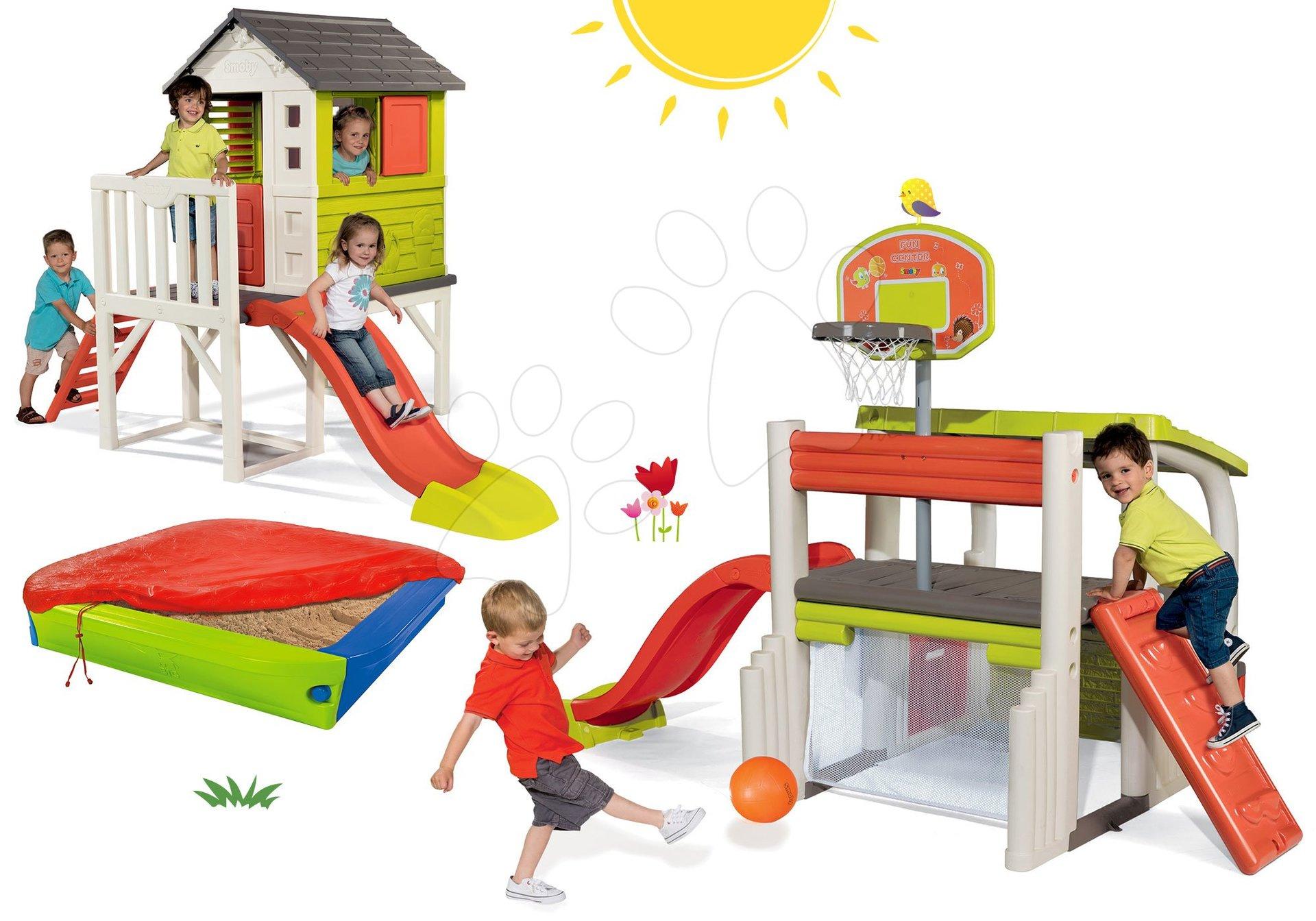 Set hracie centrum Fun Center Smoby so šmykľavkou 150 cm a domček na pilieroch s pieskoviskom od 24 mes