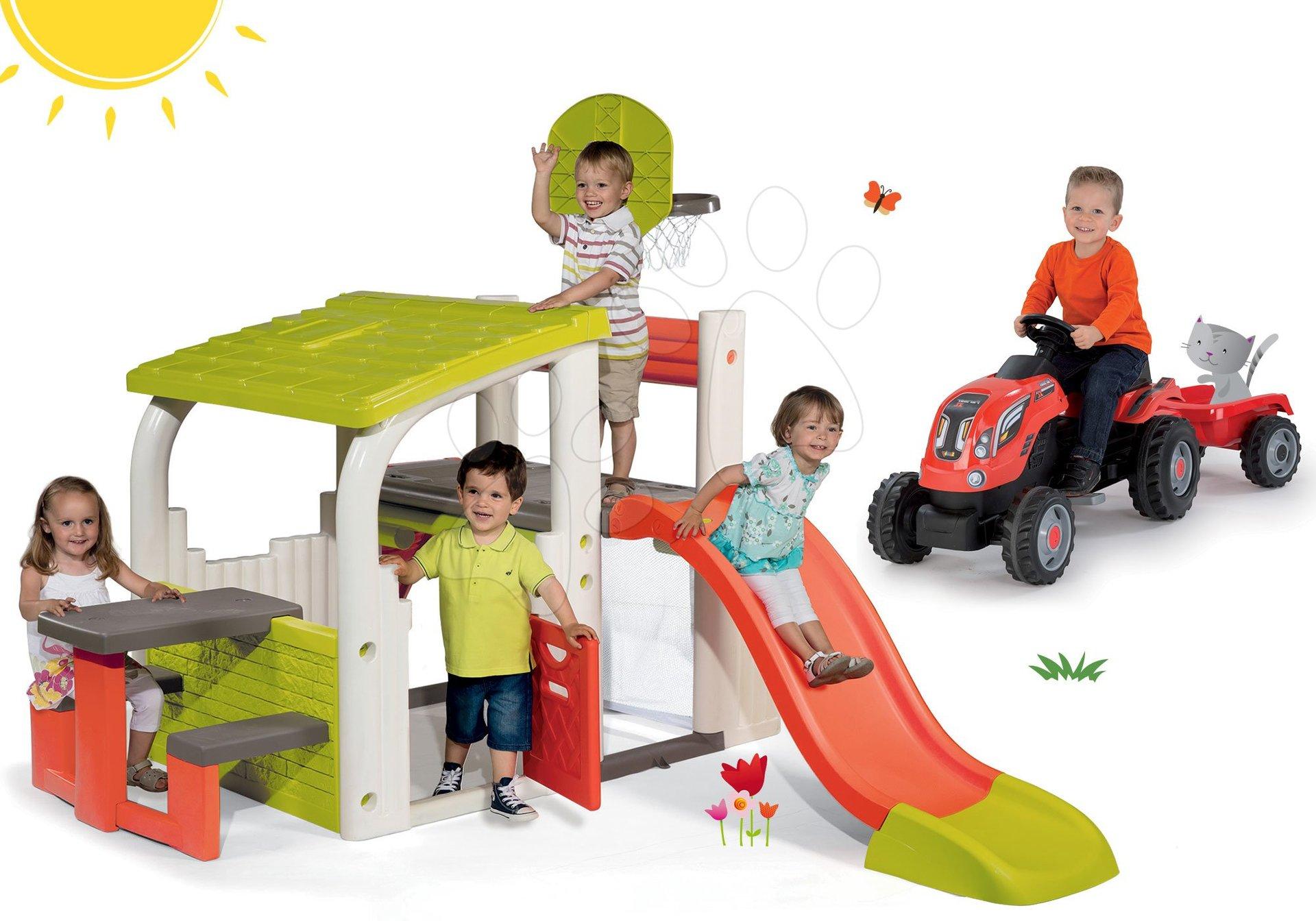 Szett játszótér Fun Center Smoby csúszdával hossza 150 cm és traktor Farmer XL pótkocsival piros