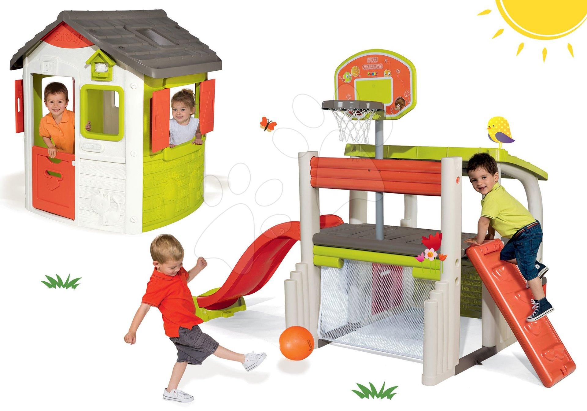 Hracie centrá - Set hracie centrum Fun Center Smoby so šmykľavkou dlhou 150 cm a domček Jura Lodge od 24 mes