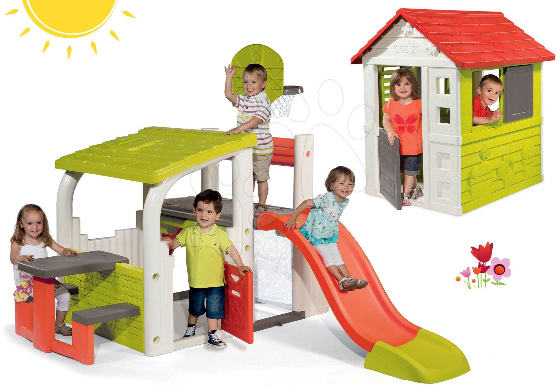 Hracie centrá - Set hracie centrum Fun Center Smoby so šmykľavkou dlhou 150 cm a domček Nature so zasúvacou okenicou od 24 mes