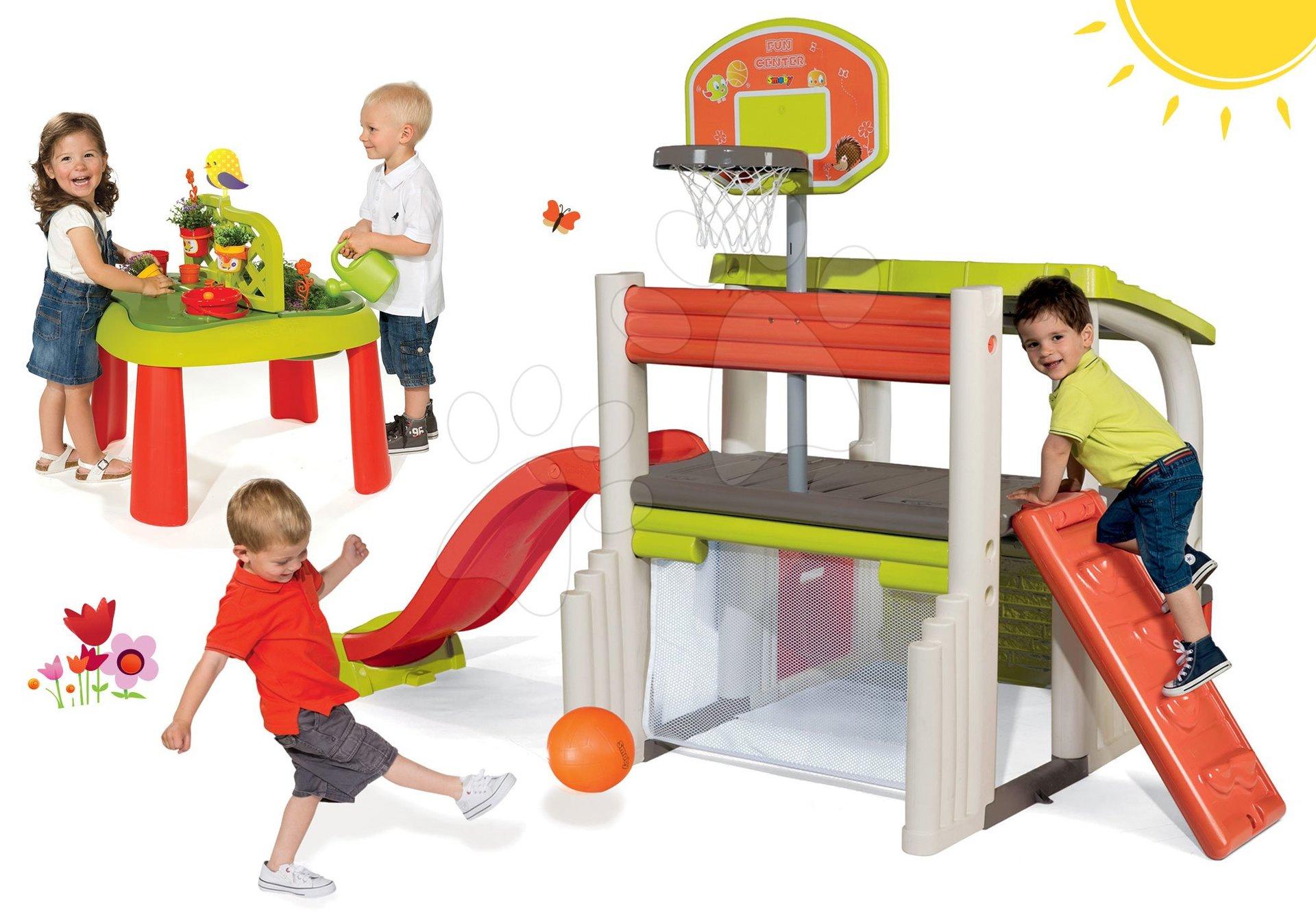 Set centru de joacă Fun Center Smoby cu tobogan cu lungime de 150 cm şi masă Grădinar 2in1 de la 24 luni