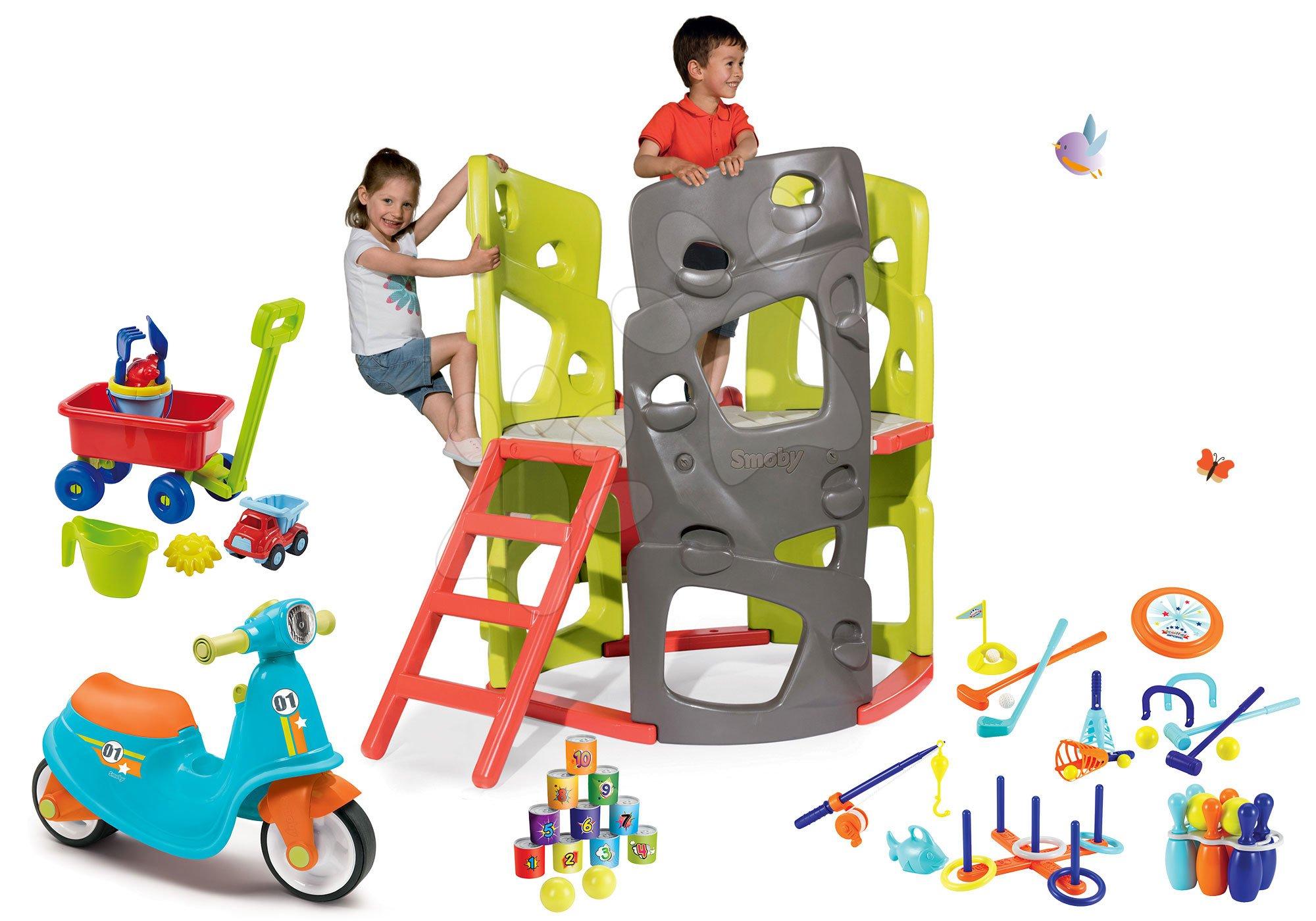 Szett mászóközpont Multiactivity Climbing Tower Smoby mászófallal és csúszdával és bébitaxi gumikerekekkel és sport játékok kiskocsival 24 hó-tól