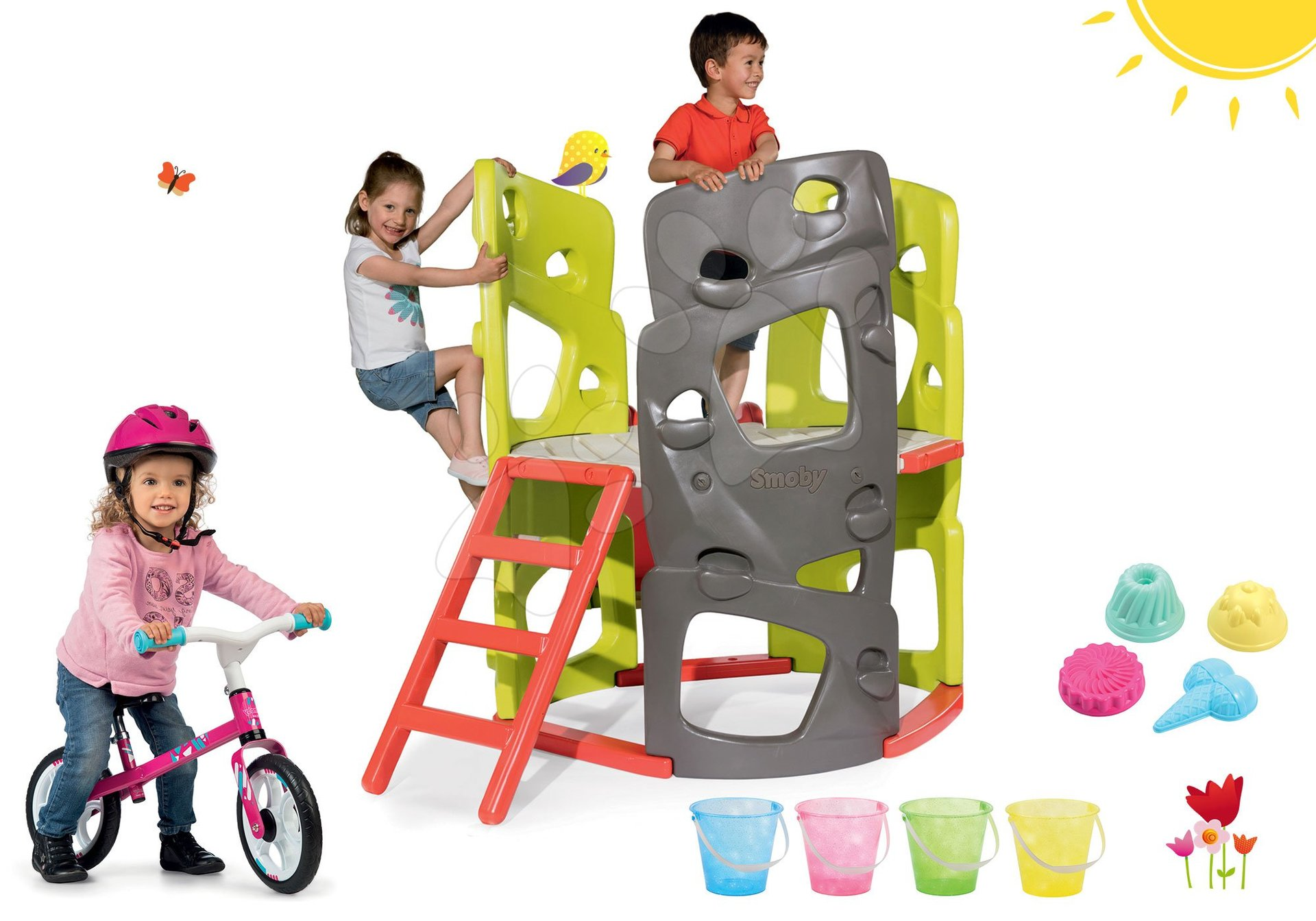 Smoby set prolézačka Multi-Activity Tower na šplhání se skluzavkou a balanční odrážedlo First Bike s