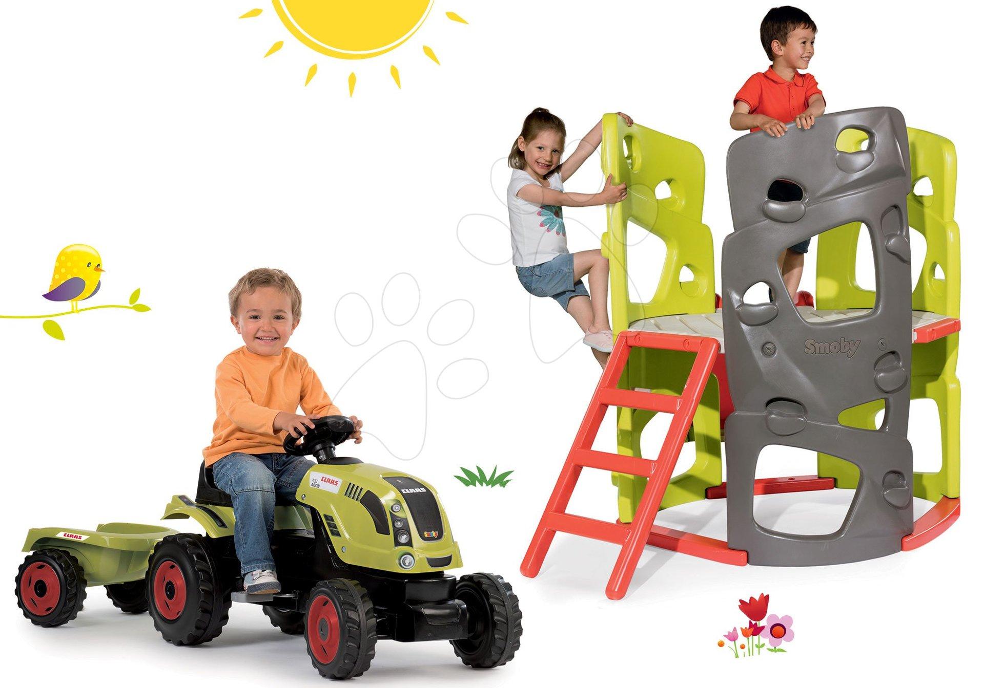Smoby set preliezačka Multi-Activity Tower na šplhanie so šmykľavkou a traktor na šliapanie Claas Farmer xL s prívesom 840201-12