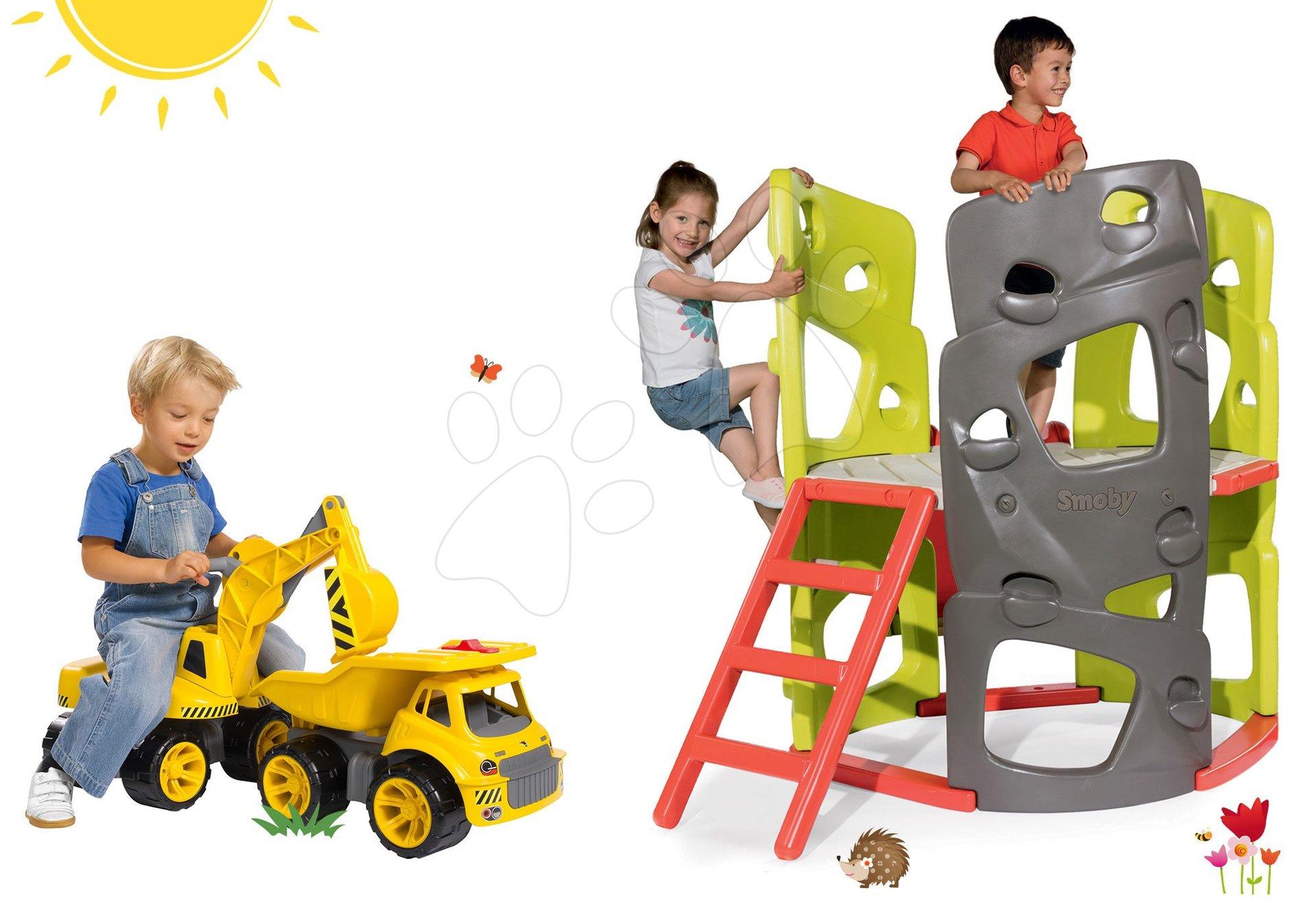 Smoby set preliezačka Multi-Activity Tower na šplhanie so šmykľavkou a odrážadlo bager a nákladné auto 840201-21