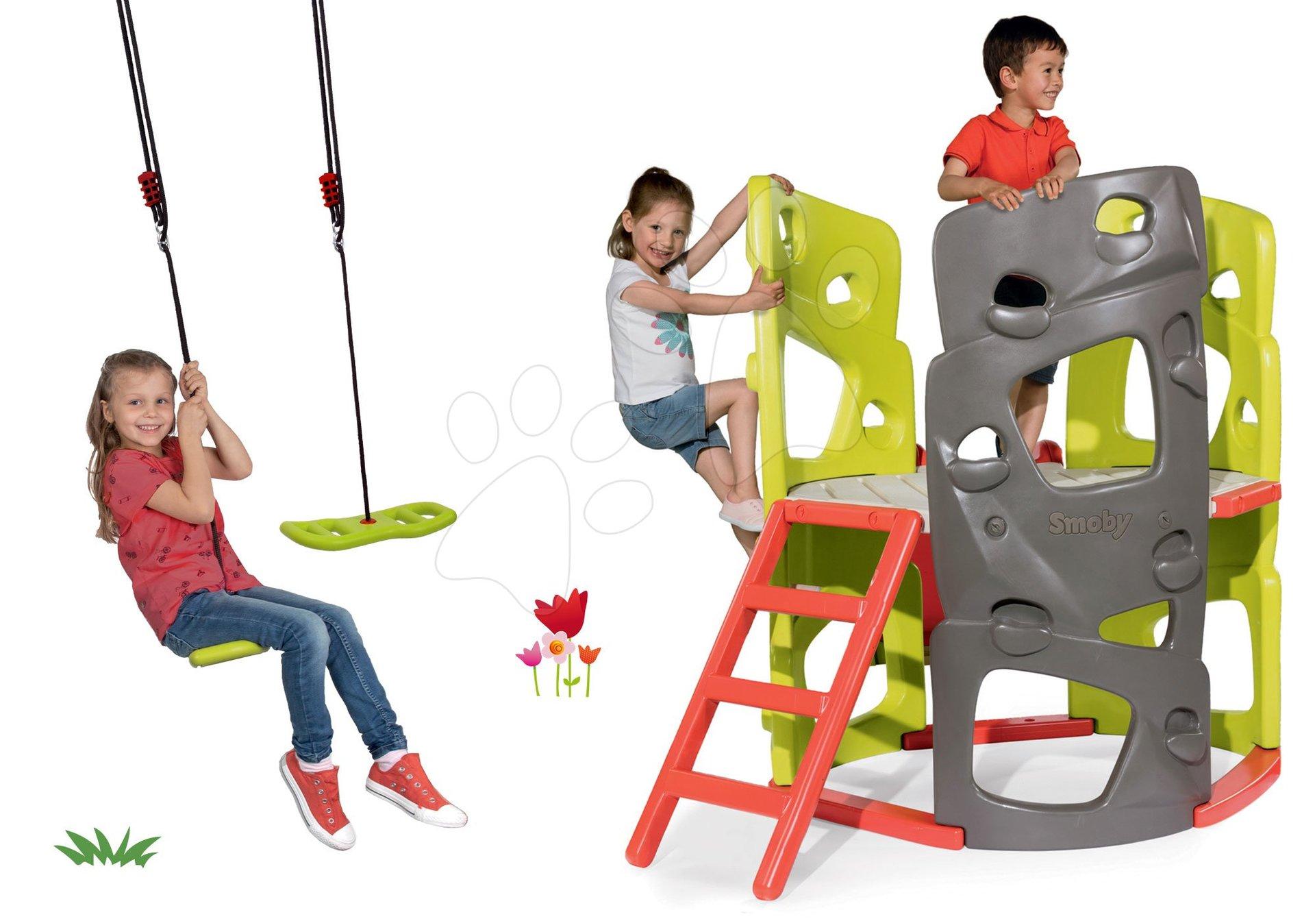 Set preliezačka Multiactivity Climbing Tower na šplhanie so šmykľavkou Smoby a darček nastaviteľná hojdačka Activity Swing
