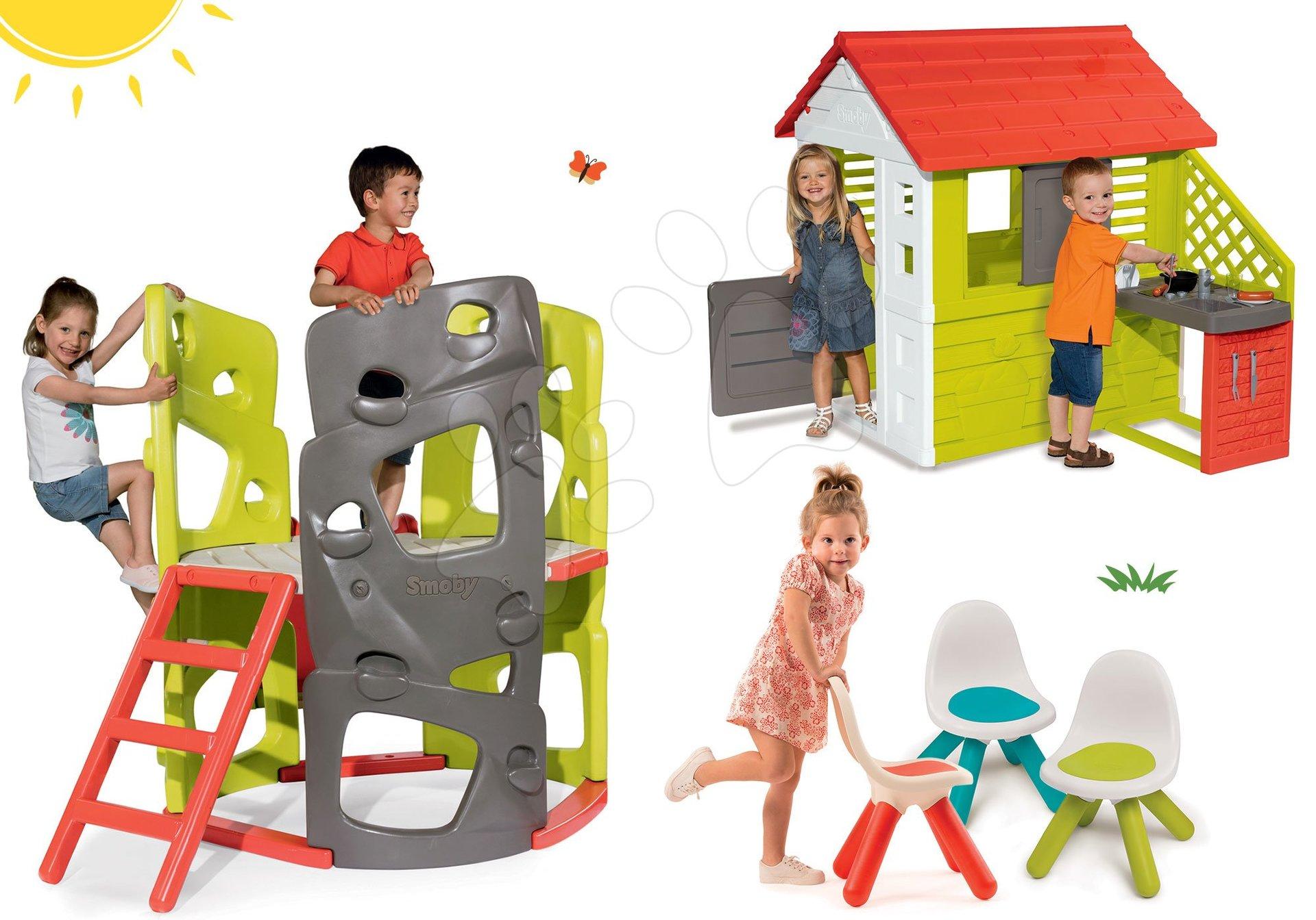 Smoby set prolézačka Multi-Activity Tower na šplhání se skluzavkou a domeček Pretty Nature s kuchyňkou s 3 židlemi 840201-5
