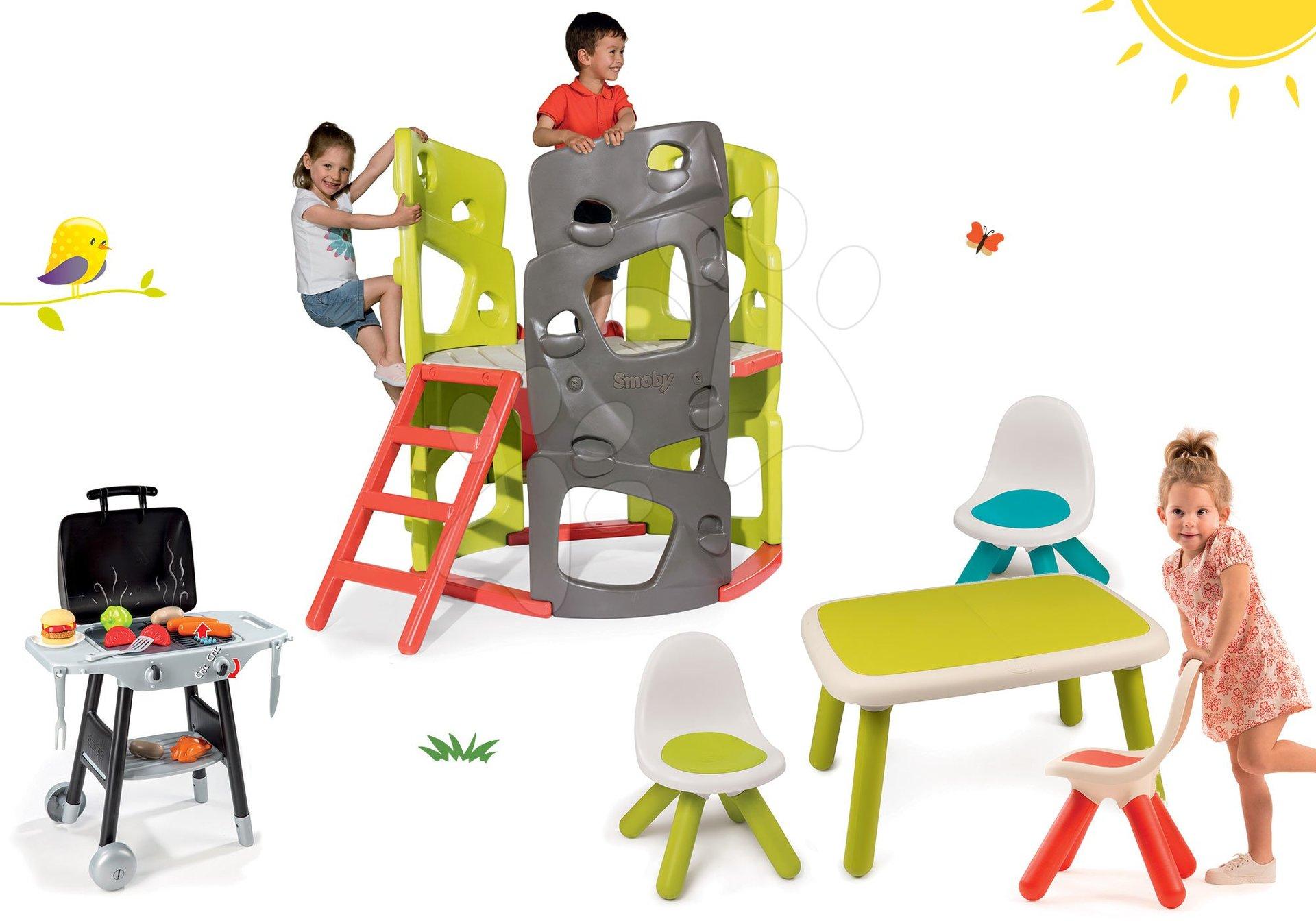 Smoby set preliezačka Multi-Activity Tower na šplhanie so šmykľavkou a 3 stoličky so stolčekom a grilom 840201-7