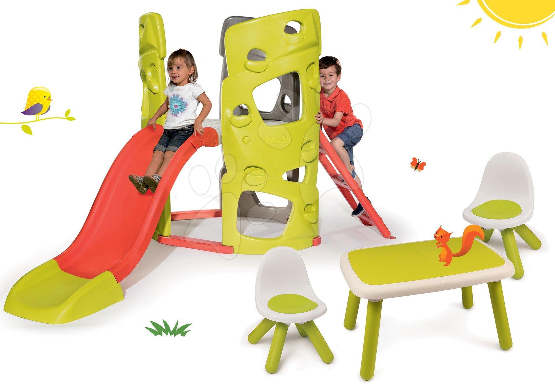 Smoby set preliezačka Multi-Activity Tower na šplhanie so šmykľavkou a 2 stoličky a stolček KidChair 840201-8