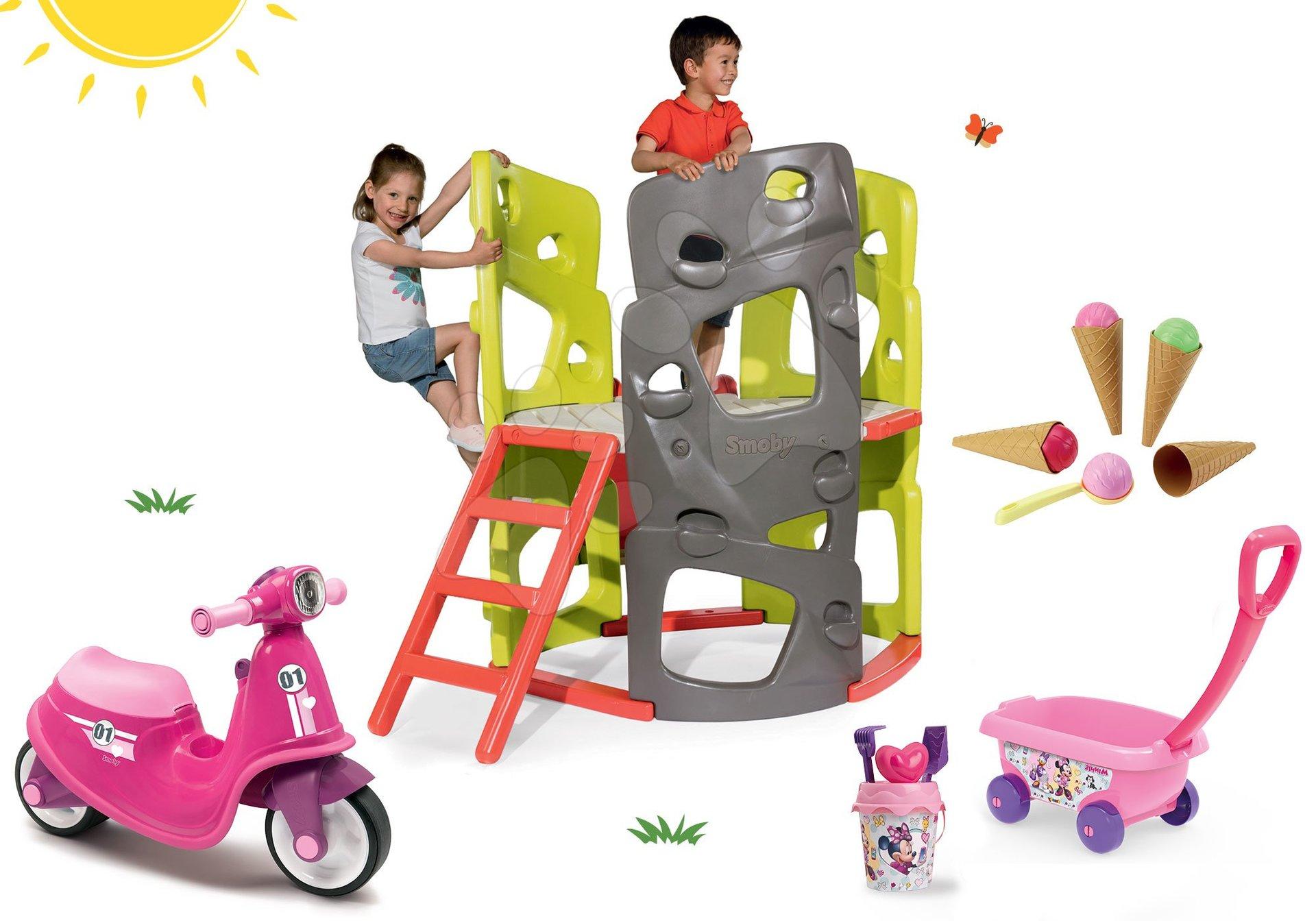 Set centru de căţărat Multiactivity Climbing Tower Smoby cu 3 pereți de căţărat, tobogan babytaxiu cu roţi din cauciuc şi cărucior cu îngheţată de la 24 luni
