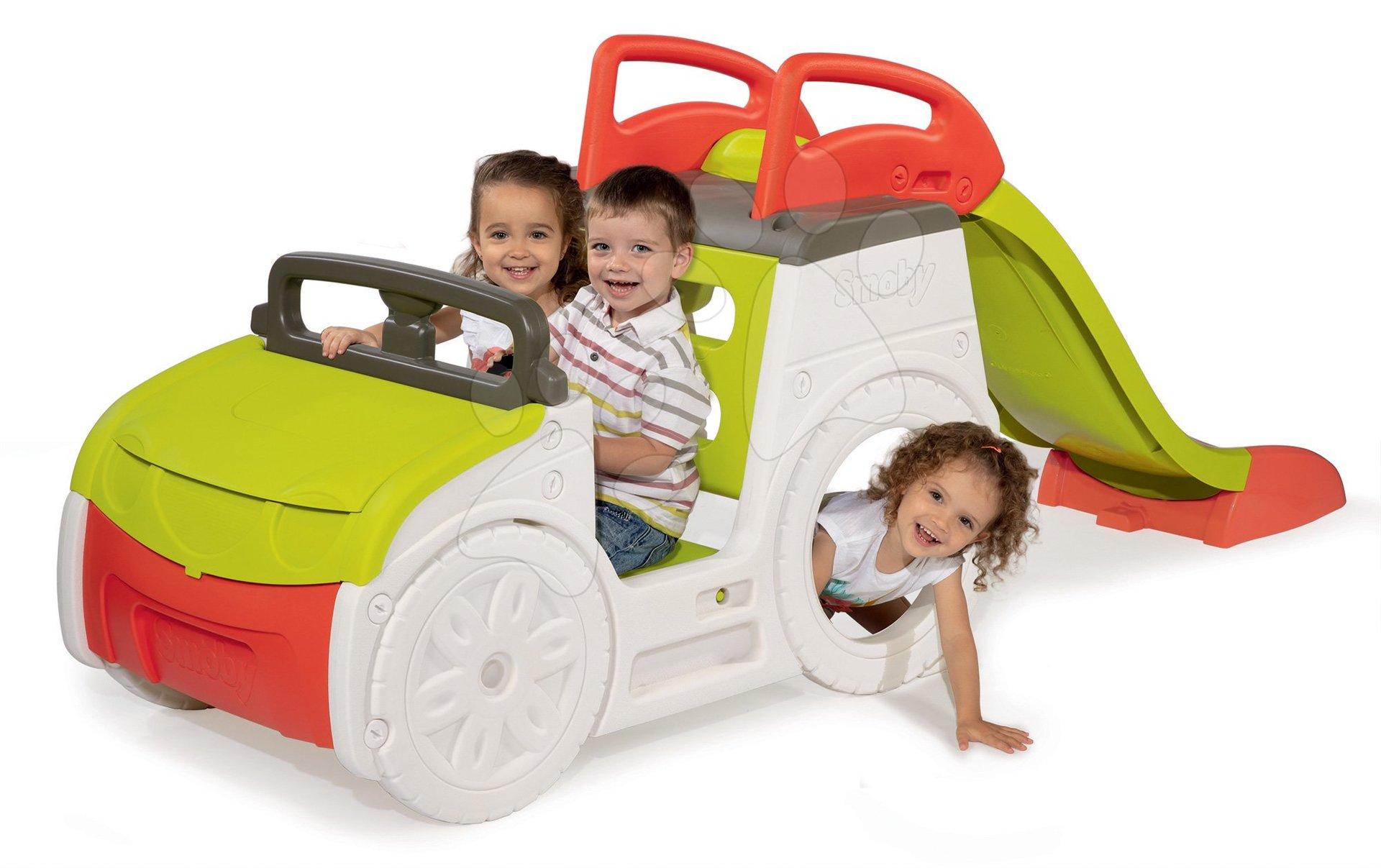 Autó mászóka Adventure Car Smoby hanggal, homokozóval és 150 cm csúszdával UV védelemmel 18 hó-tól