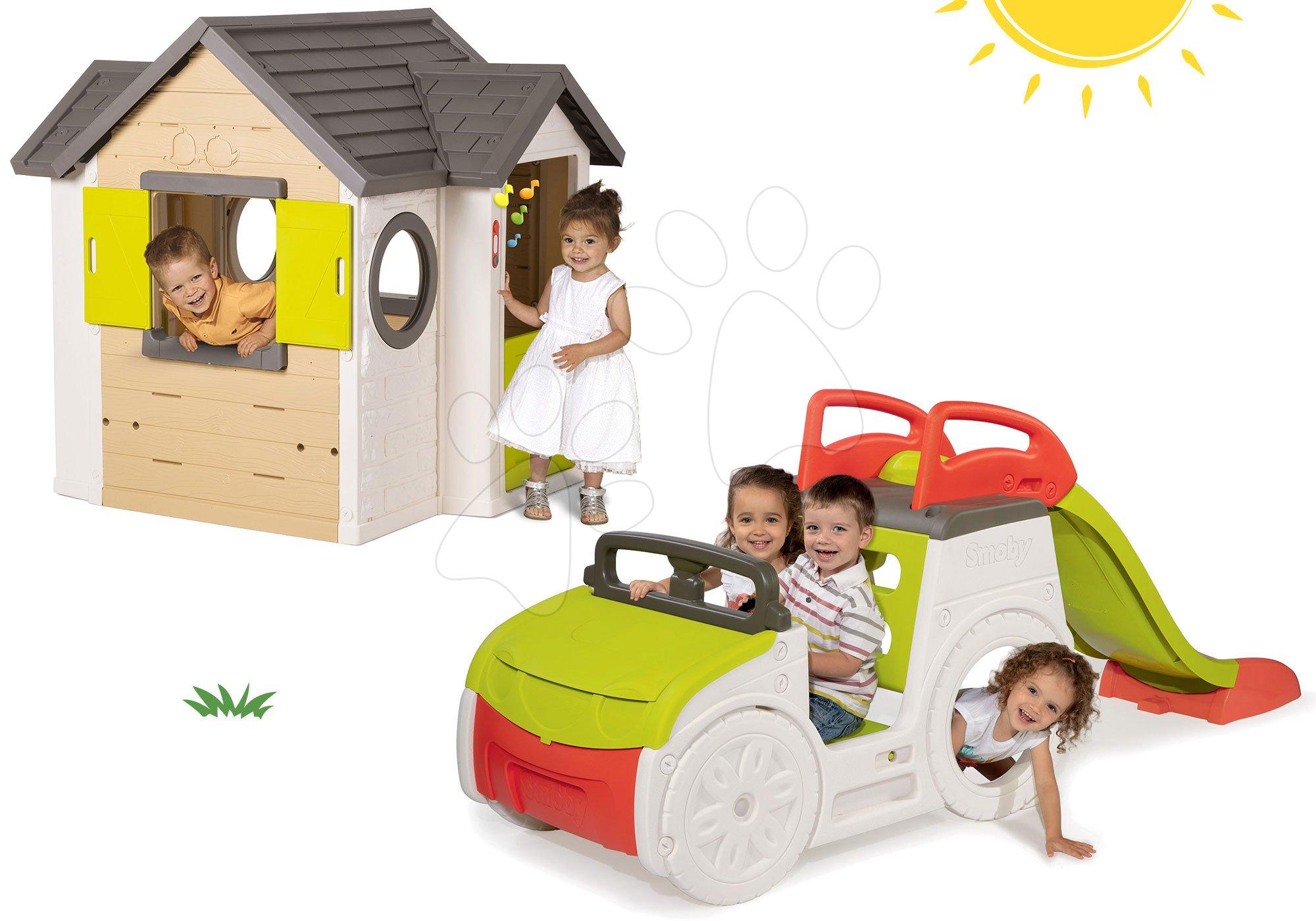 Smoby set preliezačka Adventure Car a domček My House 840200-1