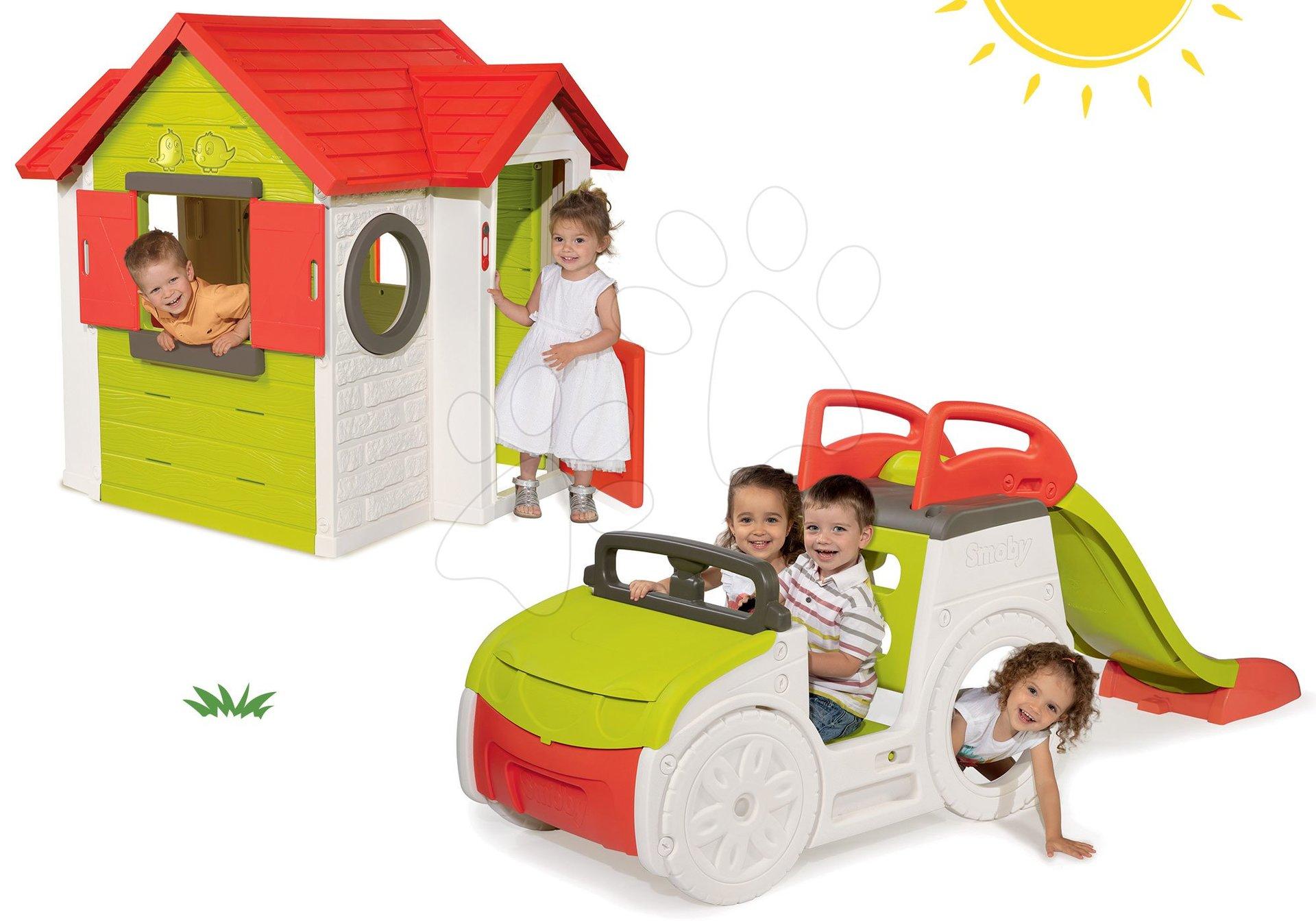 Set preliezačka Adventure Car Smoby so šmykľavkou dlhou 150 cm a domček My House od 24 mes