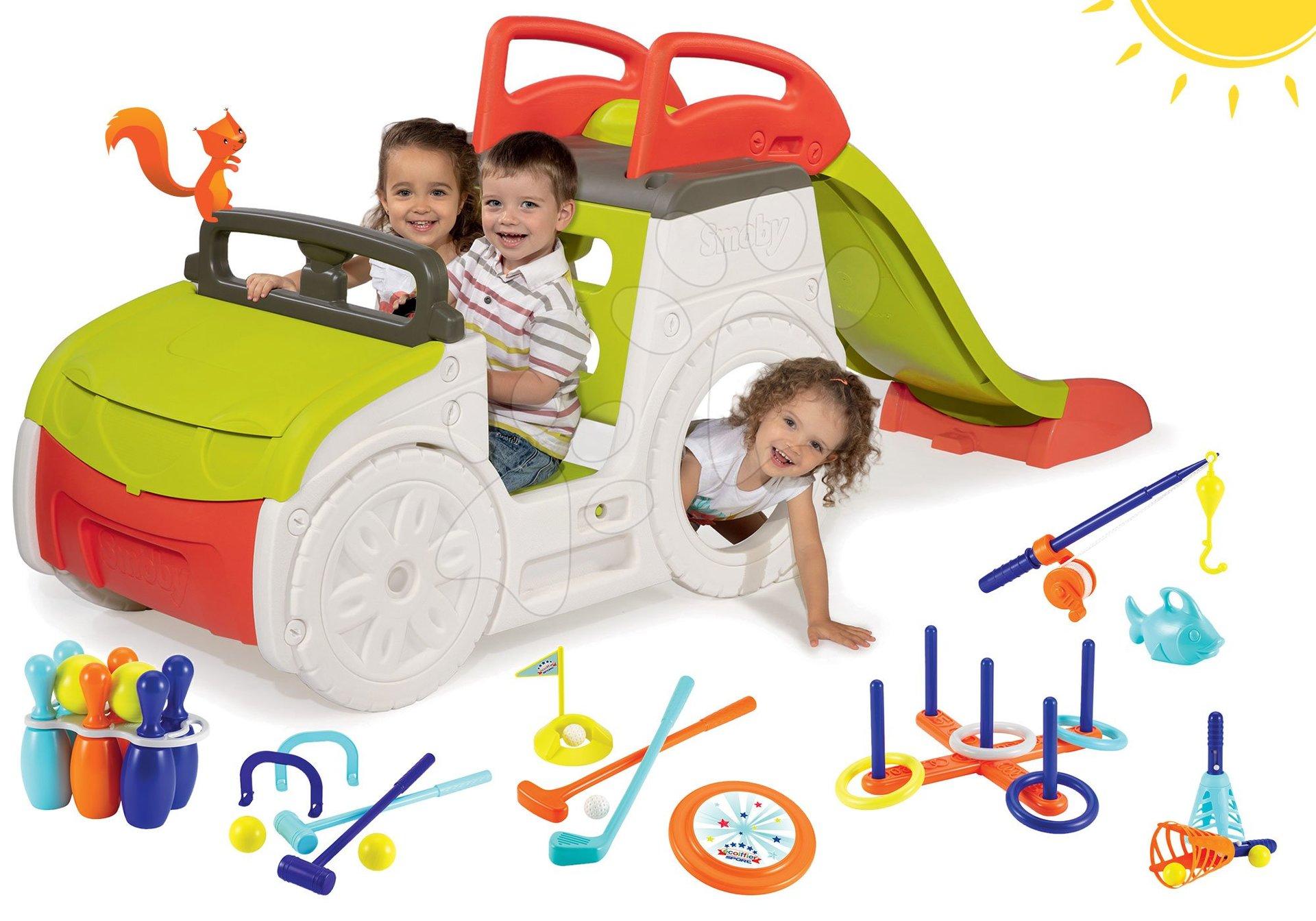 Smoby set preliezačka Adventure Car a Écoiffier set 7 športových hier 840200-11