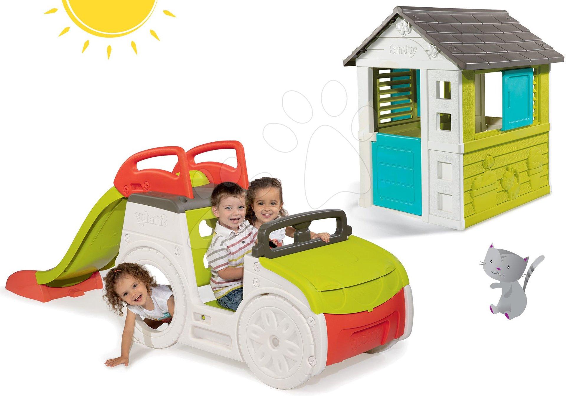 Preliezačky sety - Set preliezačka Adventure Car Smoby so šmykľavkou dlhou 150 cm a domček Pretty Blue od 24 mes