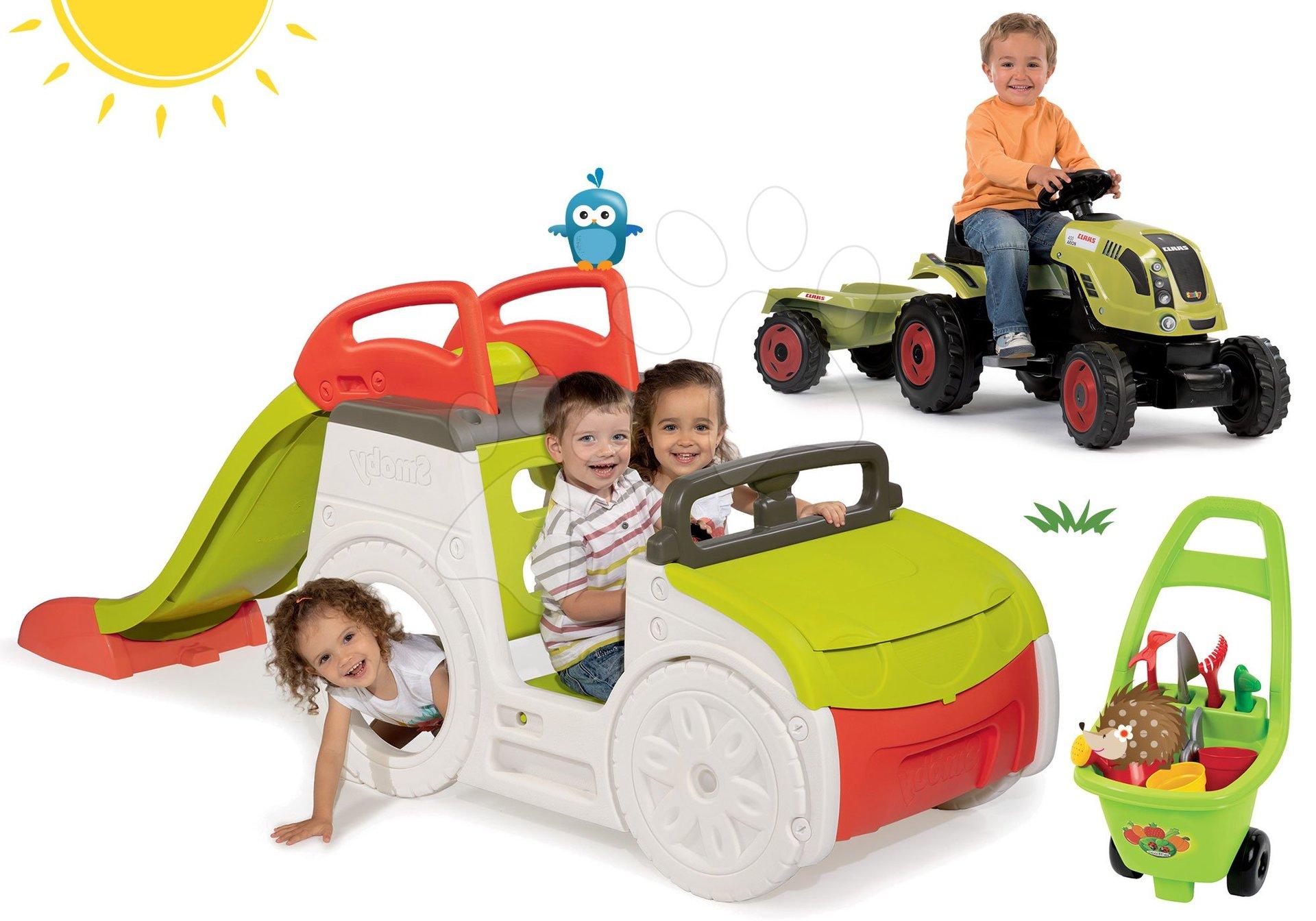 Set preliezačka Adventure Car Smoby so šmykľavkou dlhou 150 cm, traktor Claas Farmer XL a vozík pre záhradníka od 24 mes