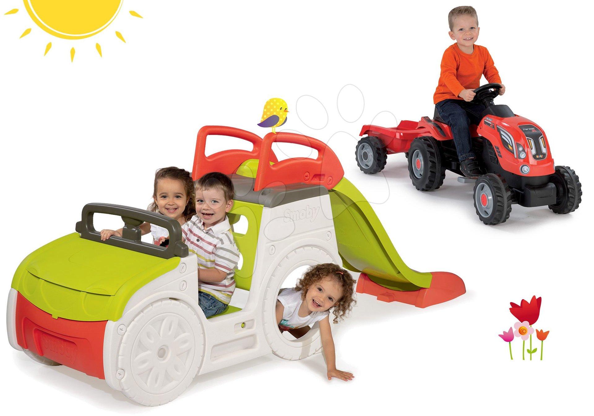 Preliezačky sety - Set preliezačka Adventure Car Smoby so šmykľavkou dlhou 150 cm a traktor Farmer XL s prívesom od 24 mes