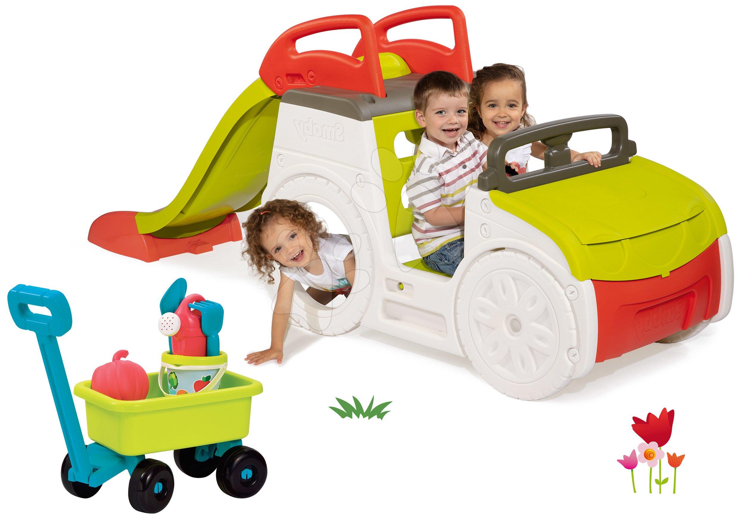 Set preliezačka Adventure Car Smoby so šmykľavkou dlhou 150 cm a vozík na ťahanie s vedro setom od 24 mes
