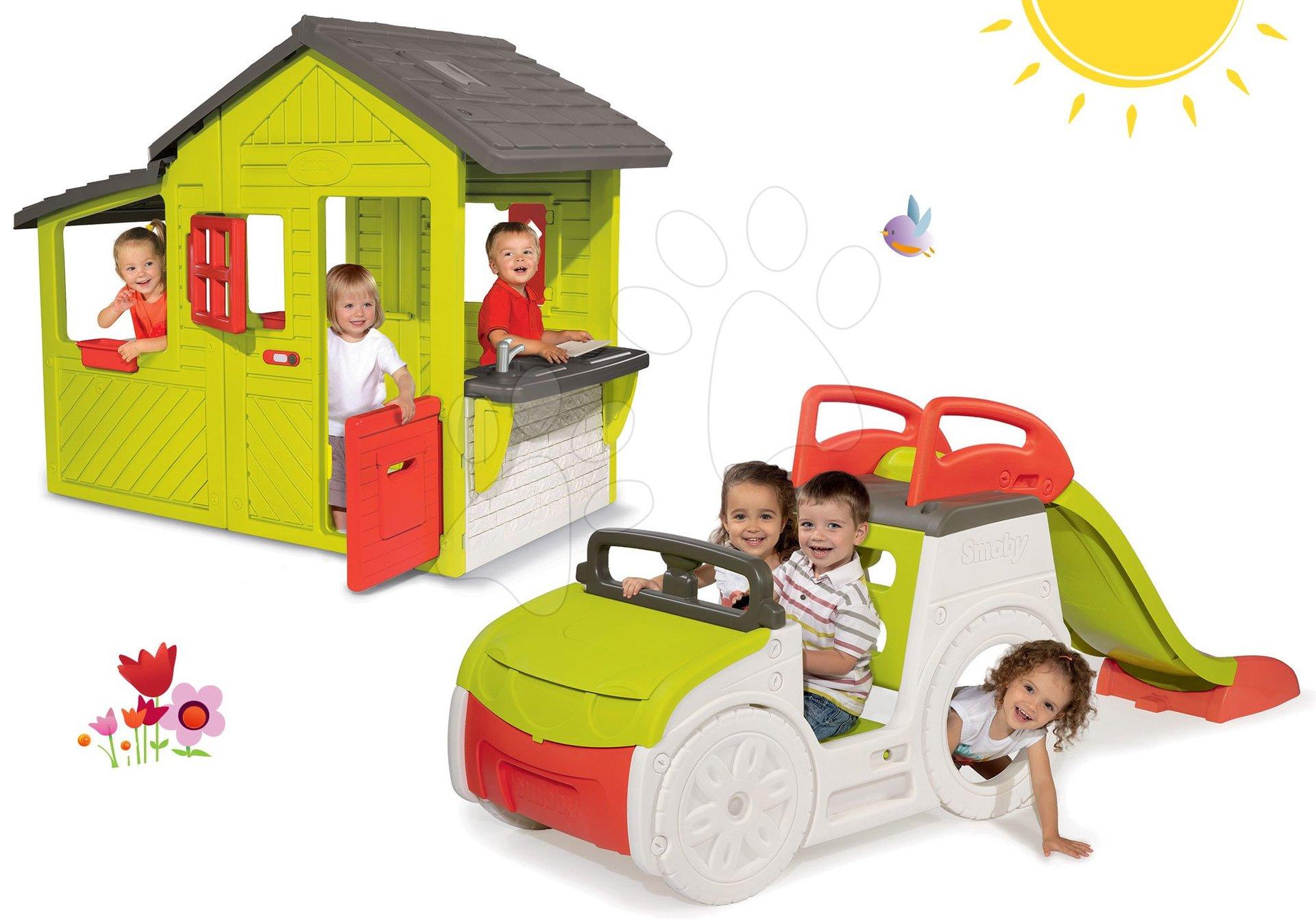 Set preliezačka Adventure Car Smoby so šmykľavkou a domček Floralie od 24 mes