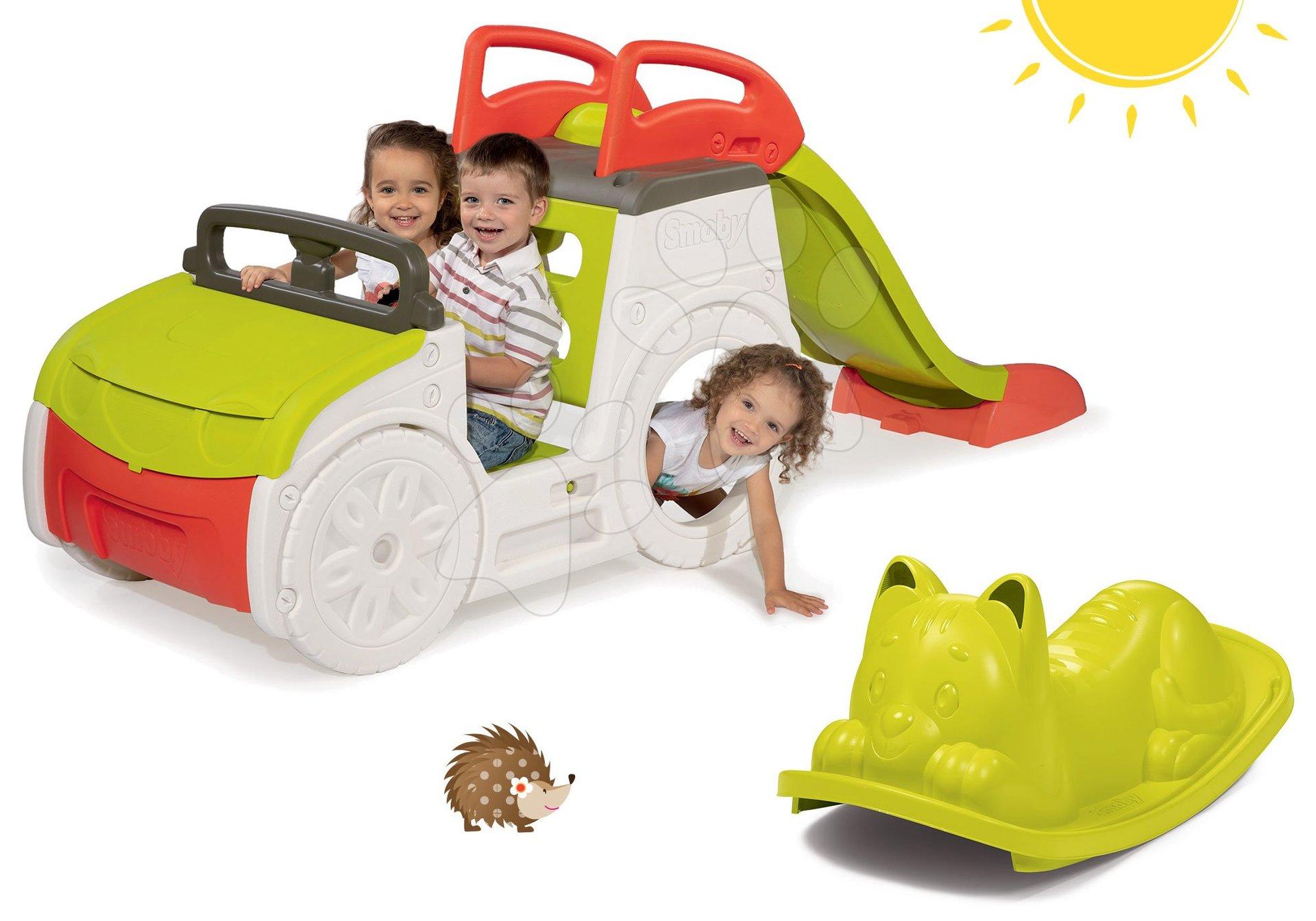 Set preliezačka Adventure Car Smoby so šmykľavkou a zelená hojdačka Kocúr od 24 mes