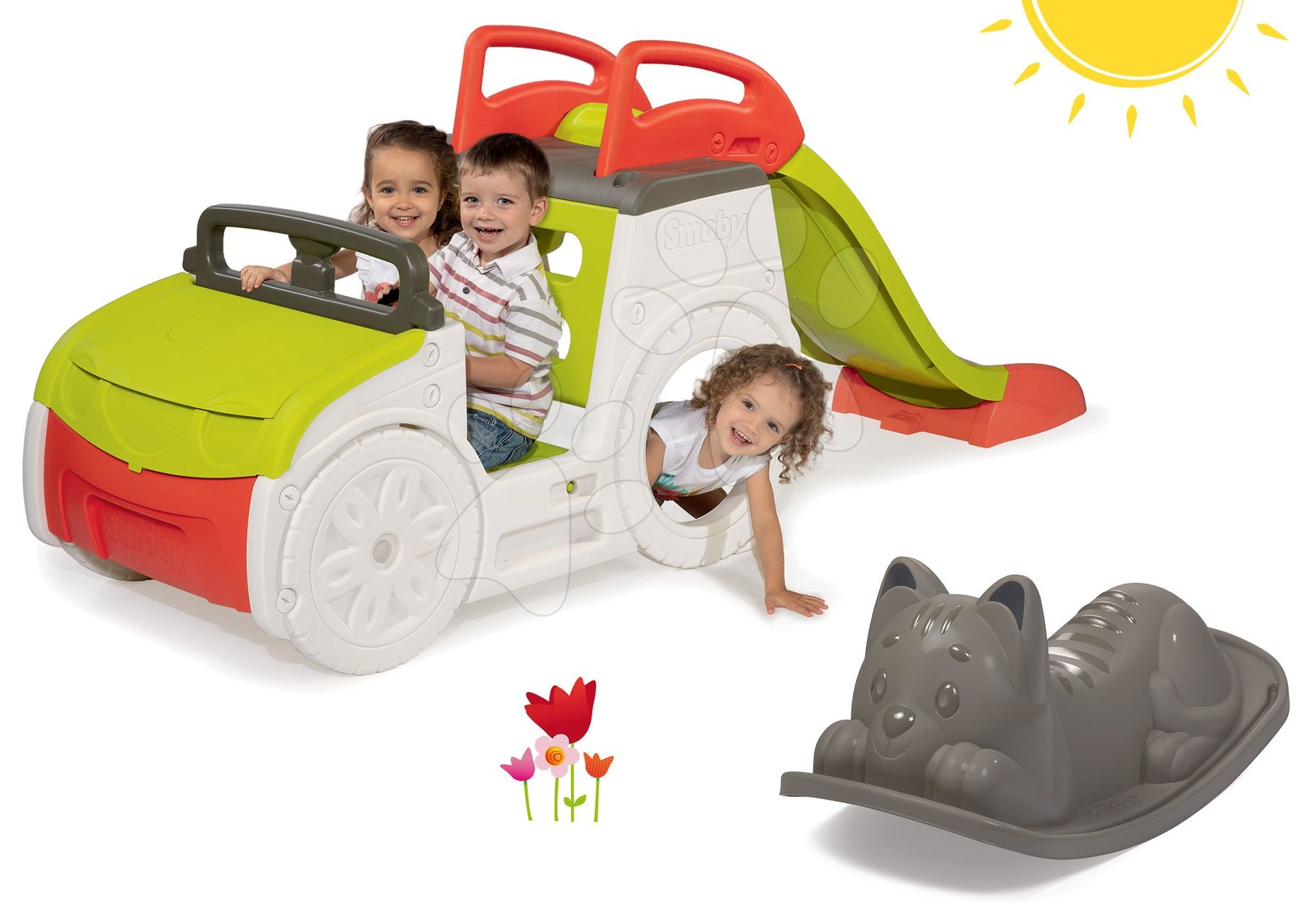 Smoby set prolézačka Adventure Car a houpačka Kocour 840200-19-B
