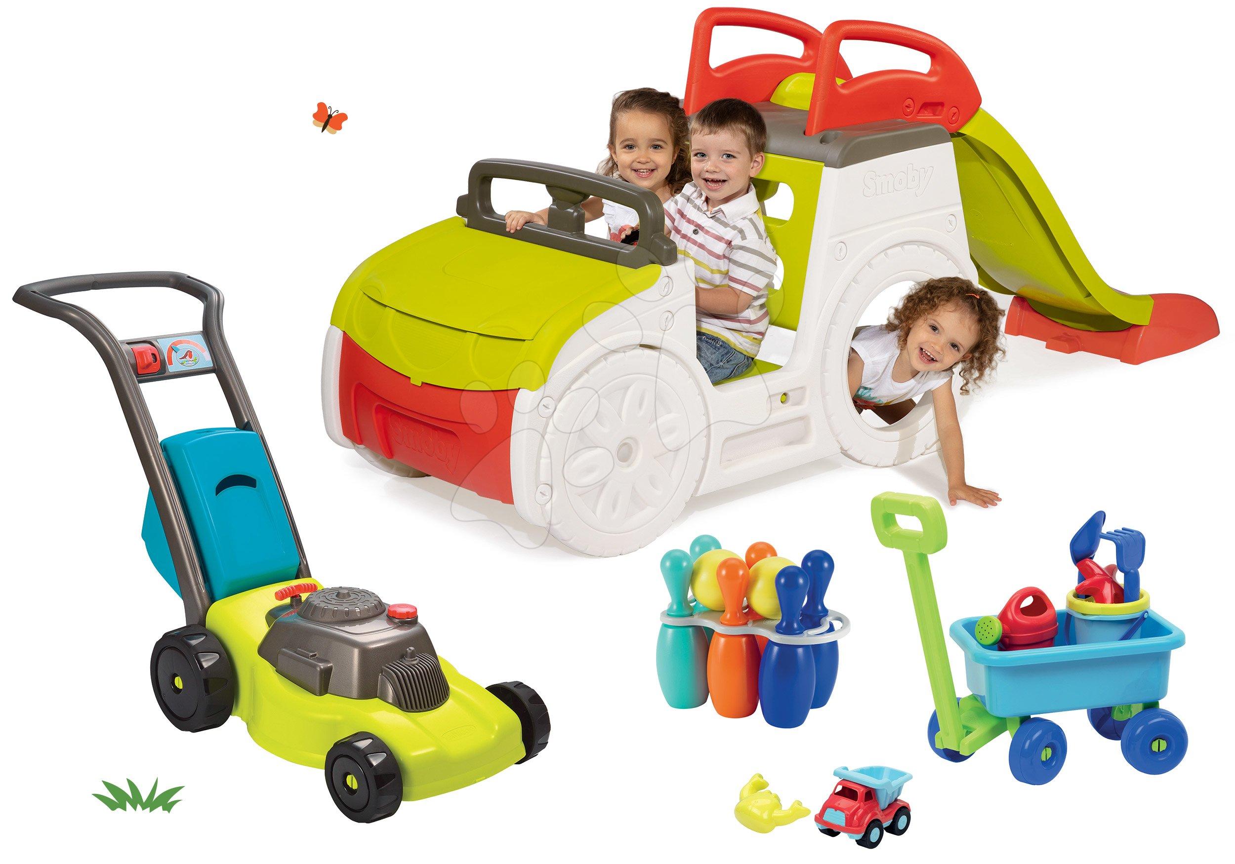 Set prolézačka Adventure Car Smoby se skluzavkou, sekačka, vozík na tahání a kuželky od 24 měsíců
