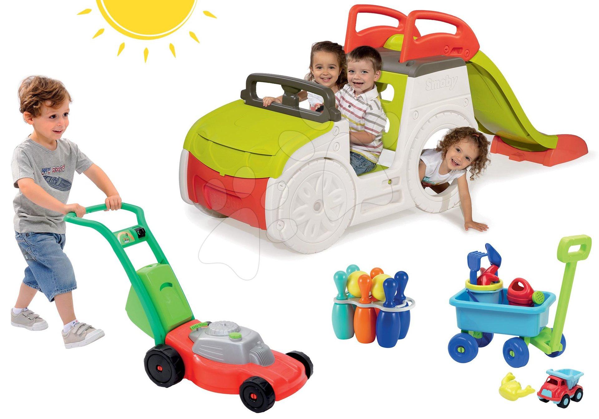 Set preliezačka Adventure Car Smoby so šmykľavkou, kosačka, vozík na ťahanie a kolky od 24 mes