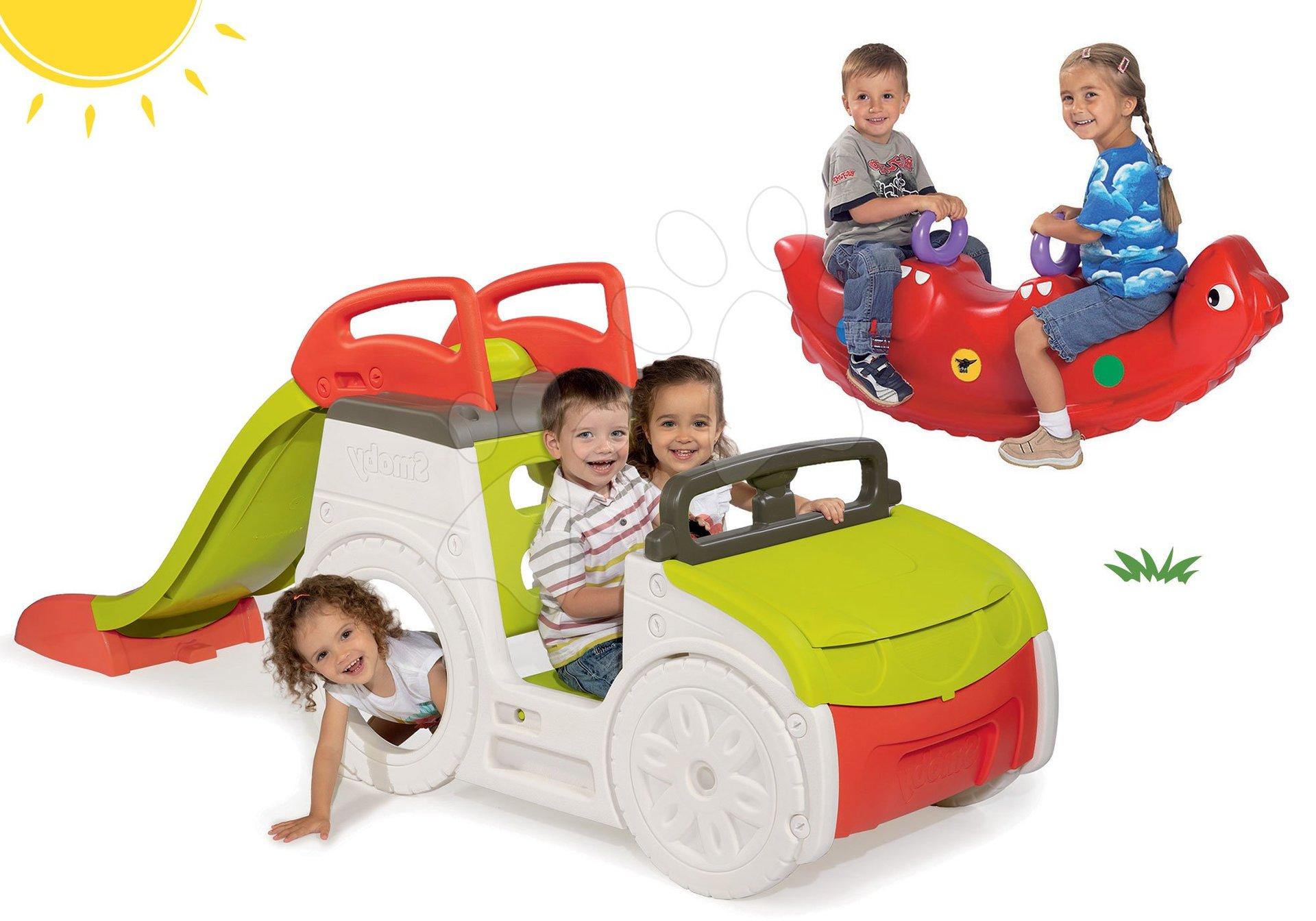 Set preliezačka Adventure Car Smoby s pieskoviskom a hojdačka dinosaurus Sammy od 24 mes