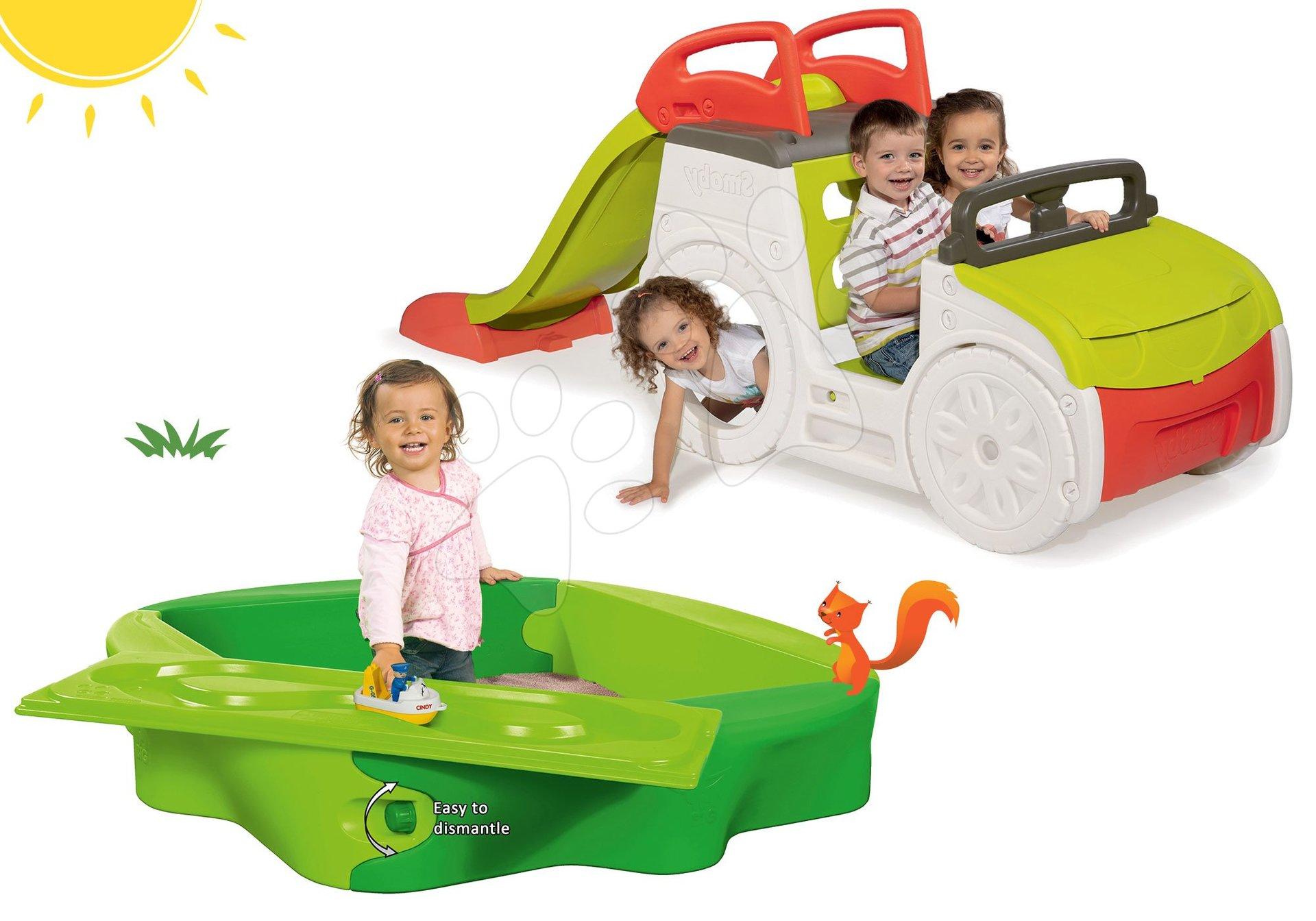 Smoby set detská preliezačka Adventure Car so šmykľavkou a pieskovisko s krytom a vodnou dráhou 840200-26