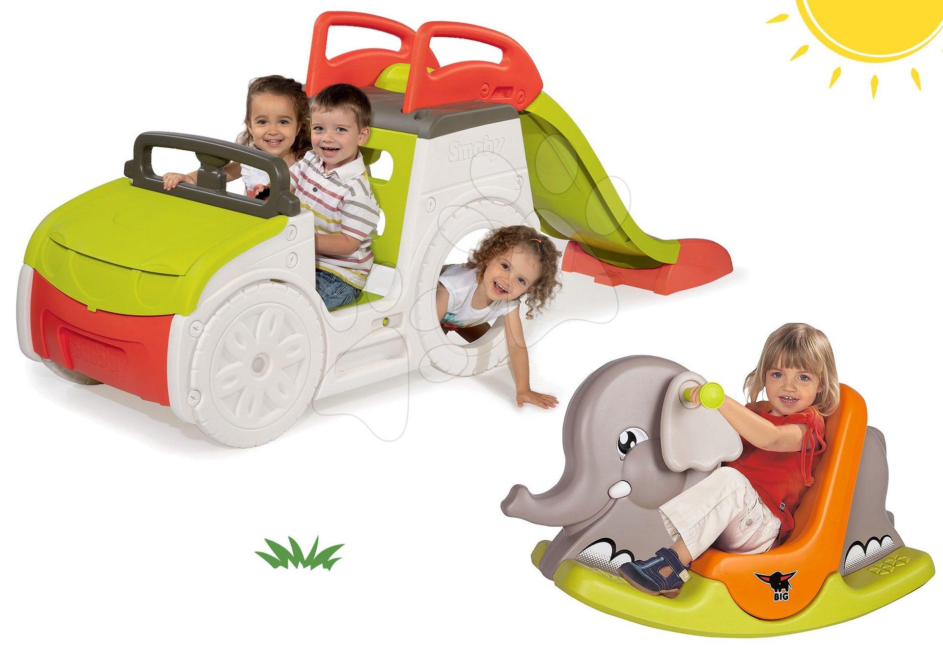 Smoby set prolézačka Adventure Car se skluzavkou a houpačka Slon s pohyblivýma ušima 840200-28