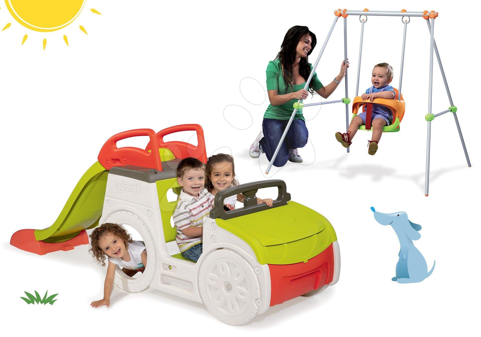 Set preliezačka Adventure Car Smoby so šmykľavkou a hojdačka s kovovou konštrukciou výška 120 cm od 24 mes