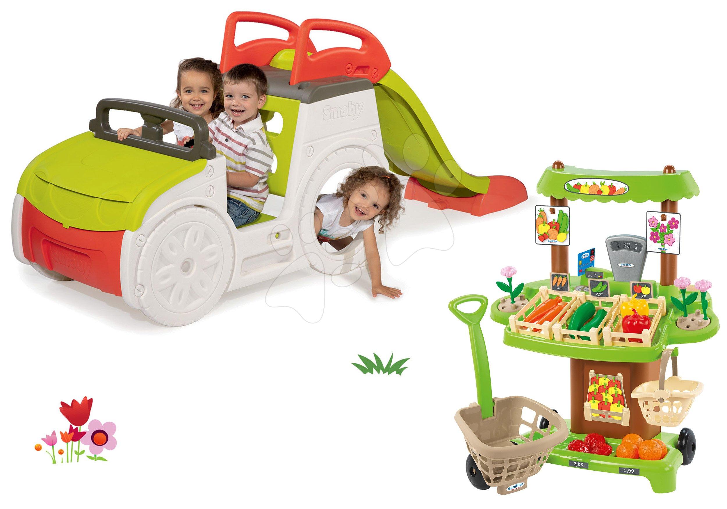 Smoby set preliezačka Adventure Car so šmykľavkou a zeleninový stánok so 40 doplnkami 840200-30