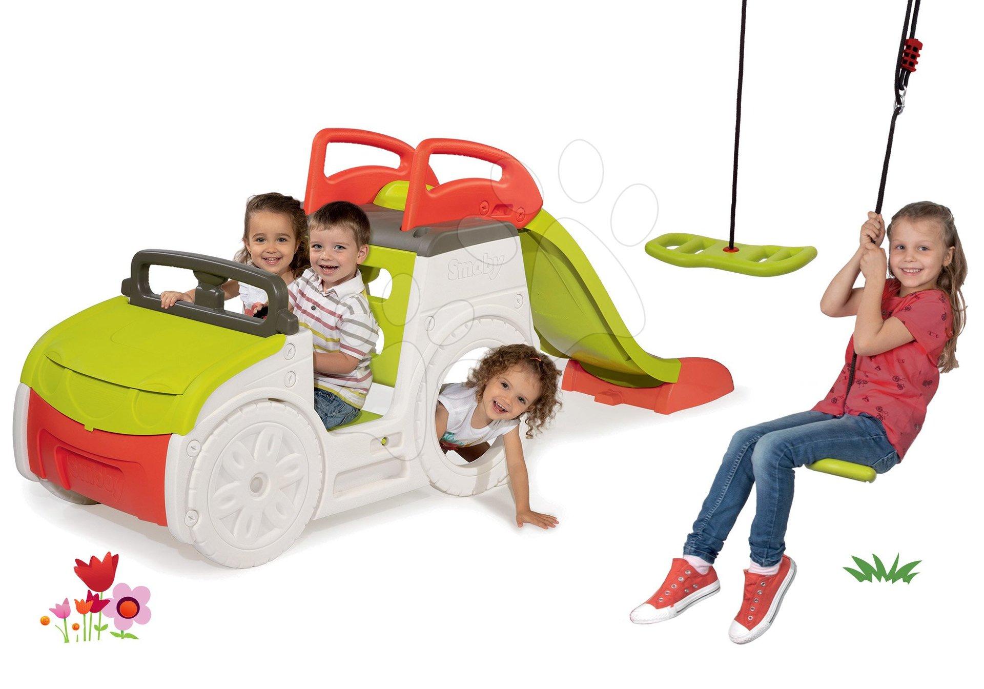 Set preliezačka Adventure Car so šmykľavkou Smoby a nastaviteľná hojdačka Activity Swing