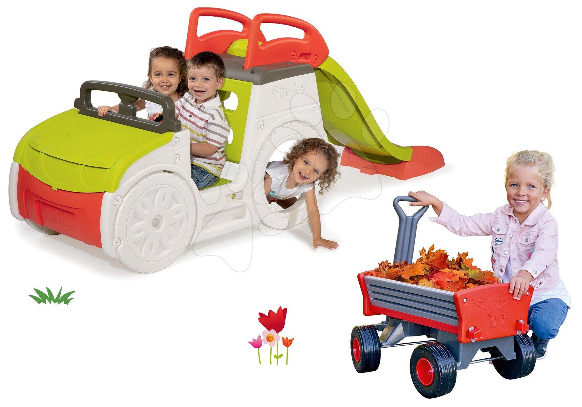 Set preliezačka Adventure Car so šmykľavkou Smoby a vozík na ťahanie Peppy Handwagen s otočnými kolesami
