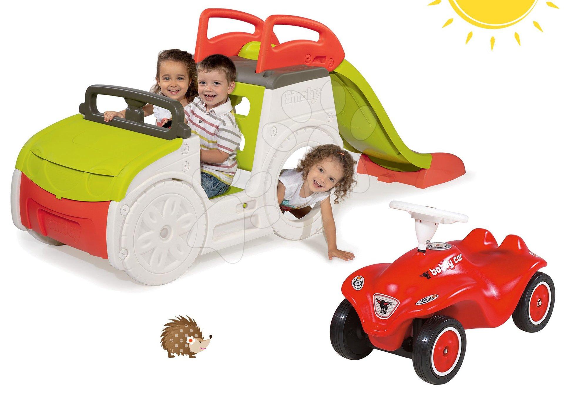 Preliezačky sety - Set preliezačka Adventure Car Smoby so šmykľavkou dlhou 150 cm a odrážadlo New Bobby s klaksónom od 24 mes
