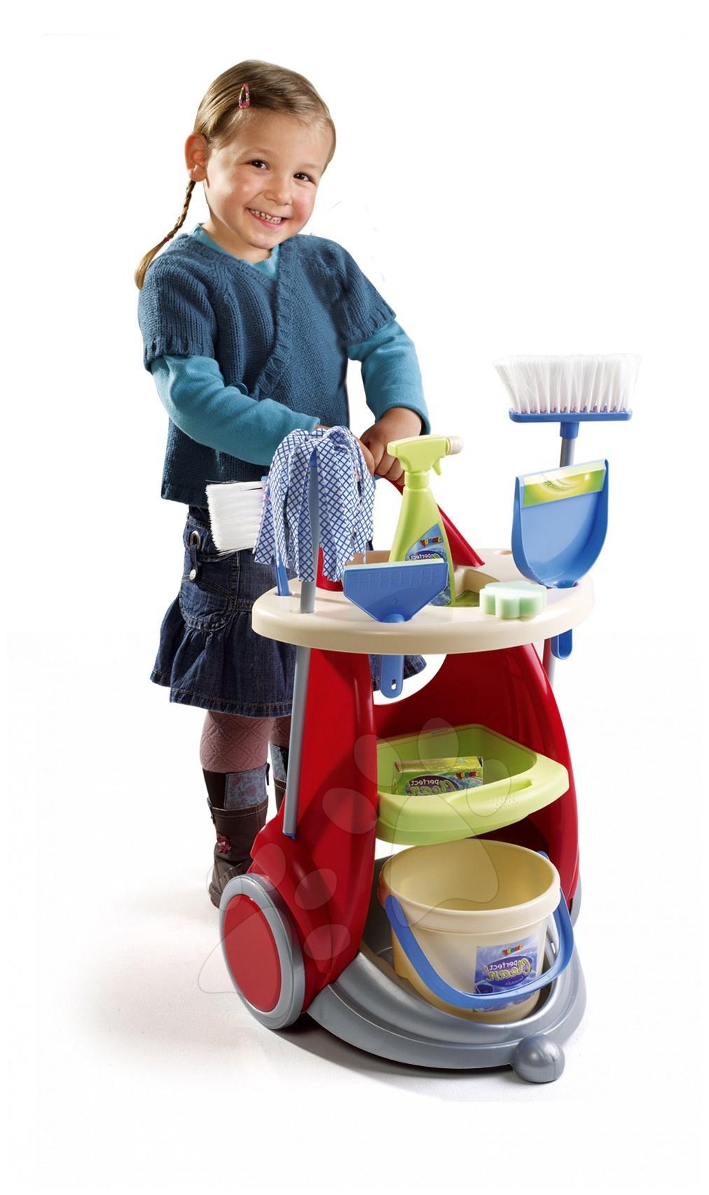 Cărucior de curăţenie Clean Service Smoby cu 10 accesorii