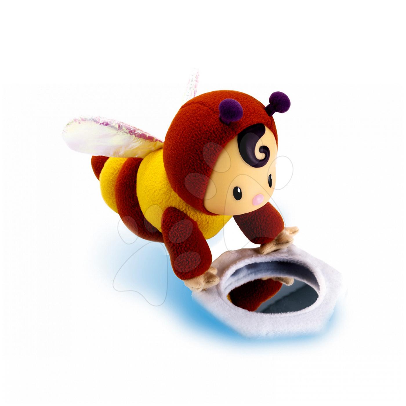 Hračky nad postieľku - Bábika Včielka Doudou Zoom Cotoons Smoby so zrkadlom pre kojencov žlto-hnedá