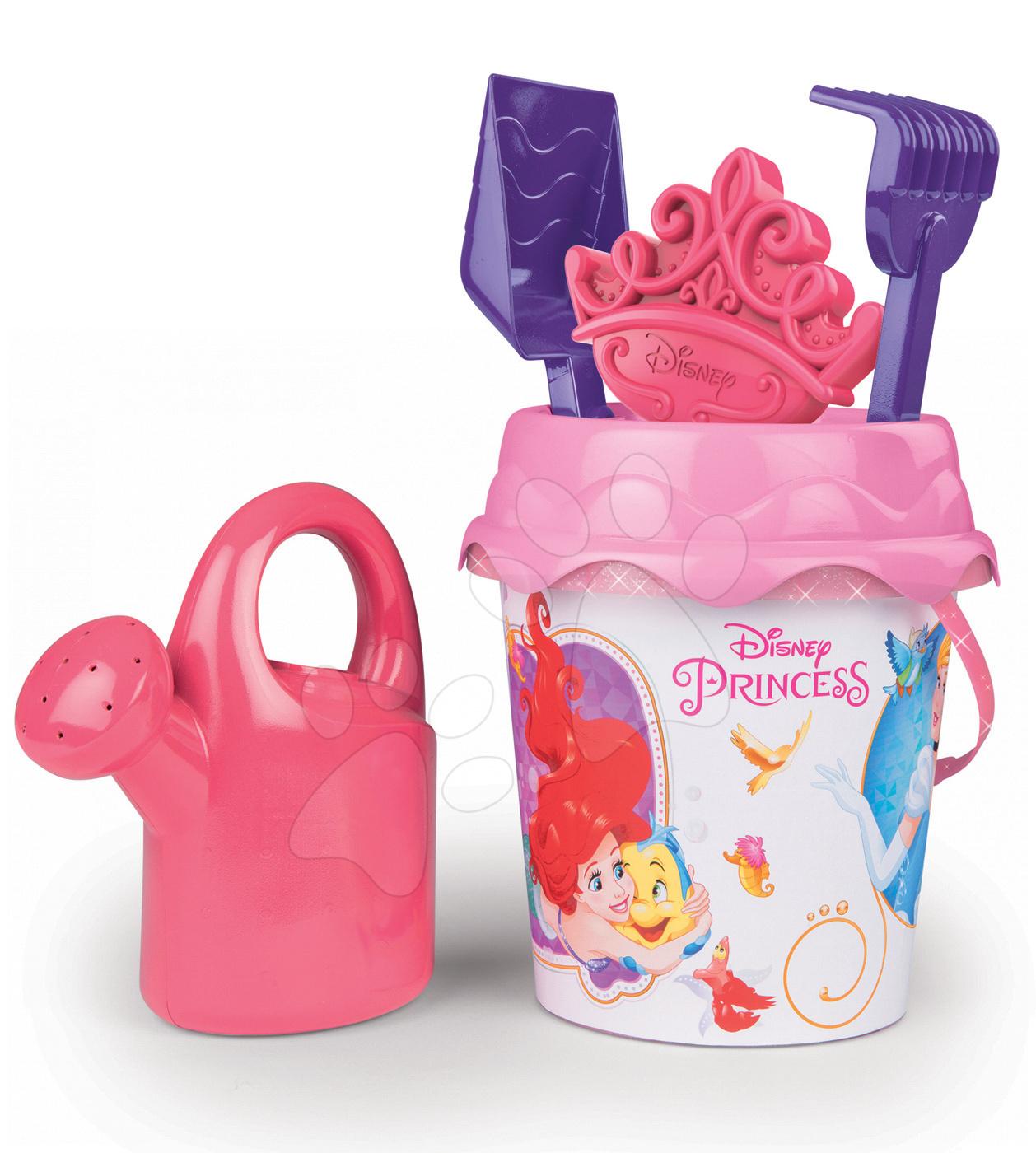 Kbelík set s konvičkou Disney Princezny Smoby 6 dílů růžový (výška 16 cm) od 18 měsíců