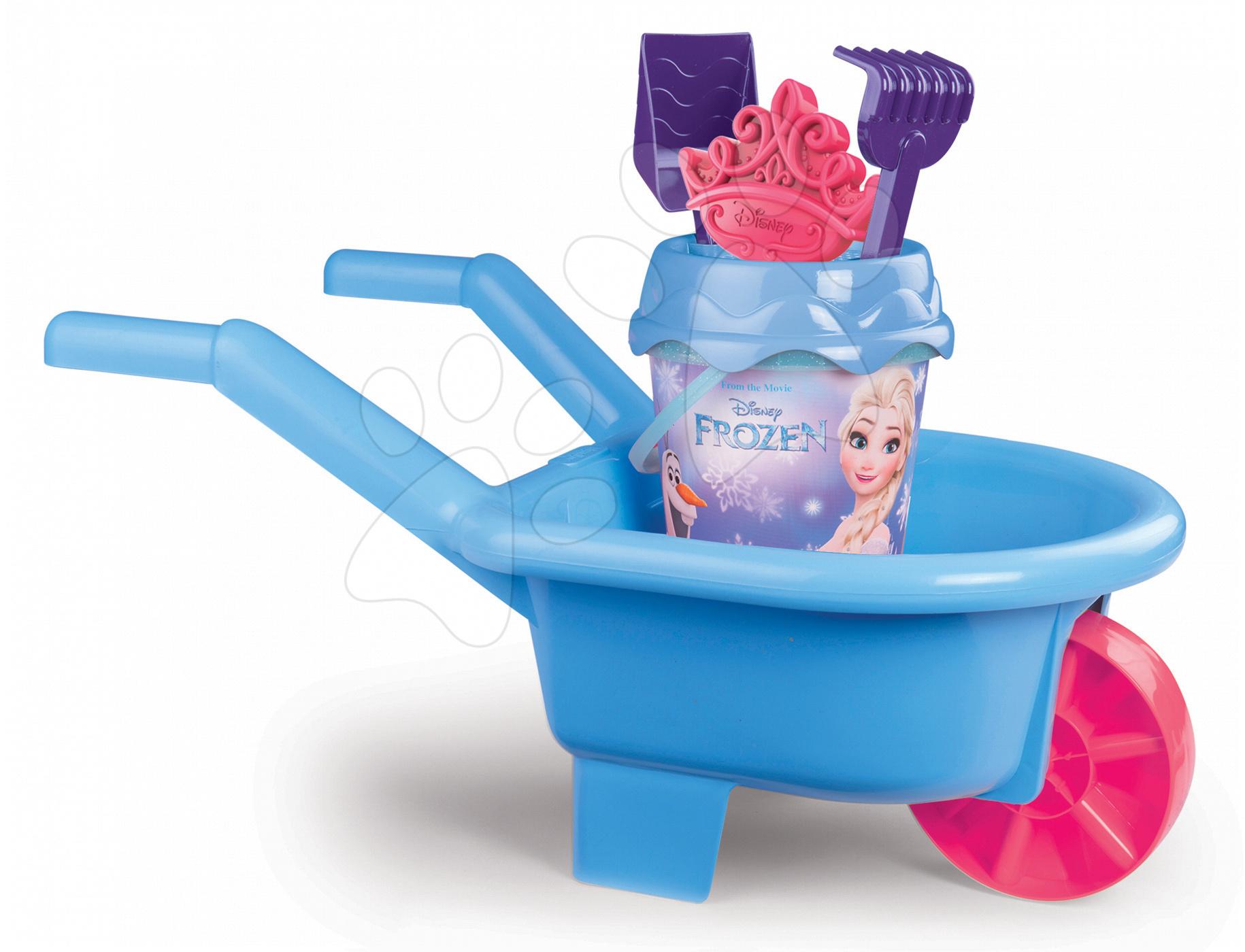 Roabă Frozen Smoby şi set de găleată 6 piese albastru cu sclipici de la 18 luni