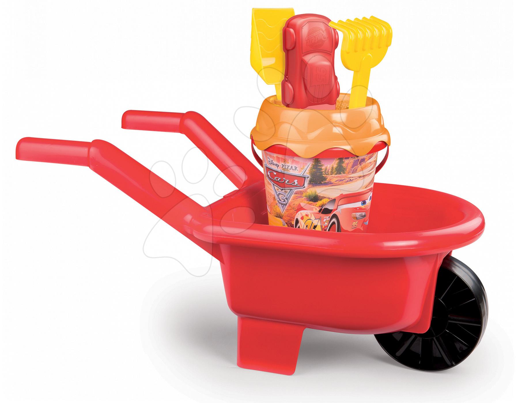 Roabă cu set de găleată Maşini 3 Smoby 6 piese roşu de la 18 luni