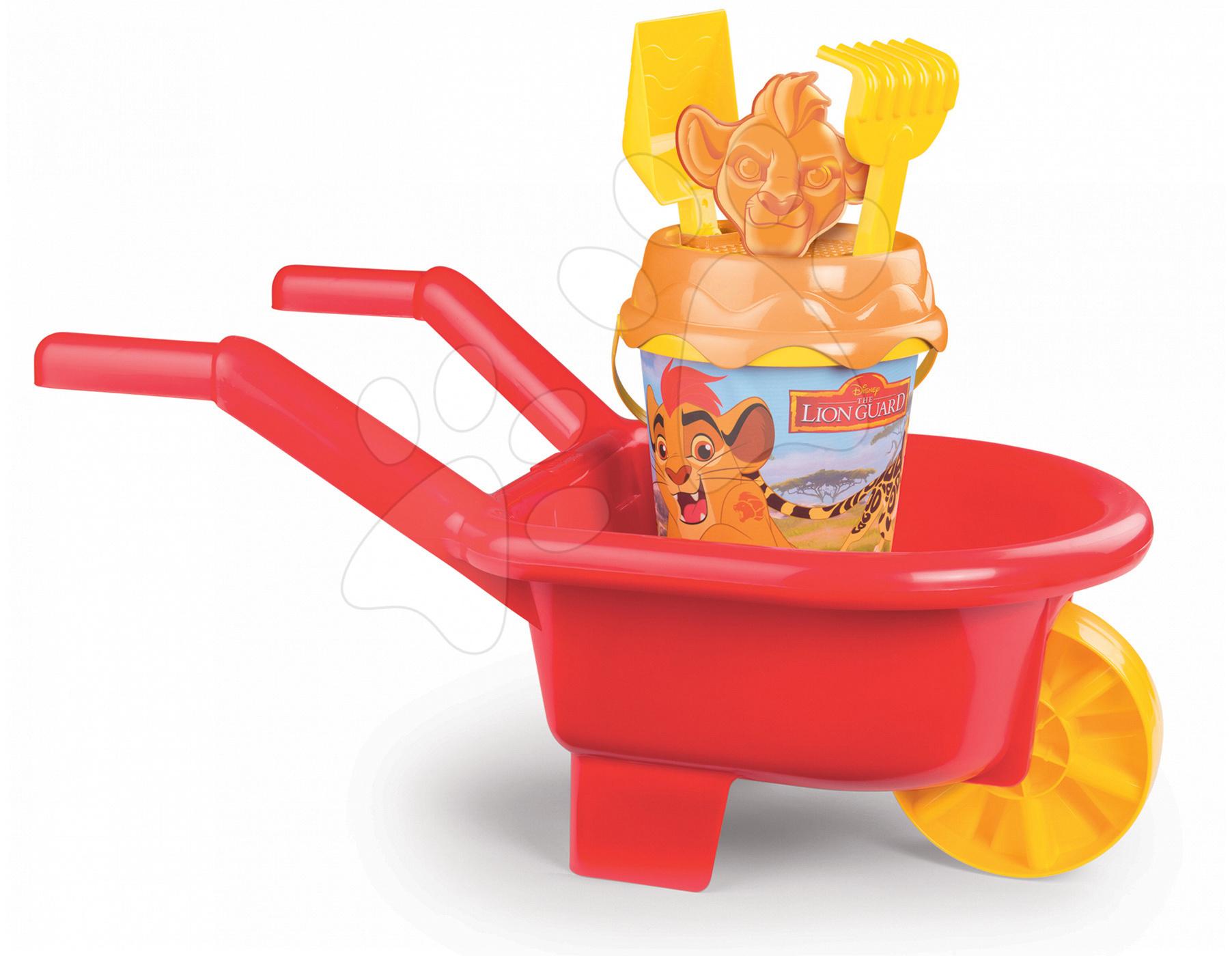 Kolečko Lví hlídka Smoby s kbelík setem 6 dílů červený od 18 měsíců