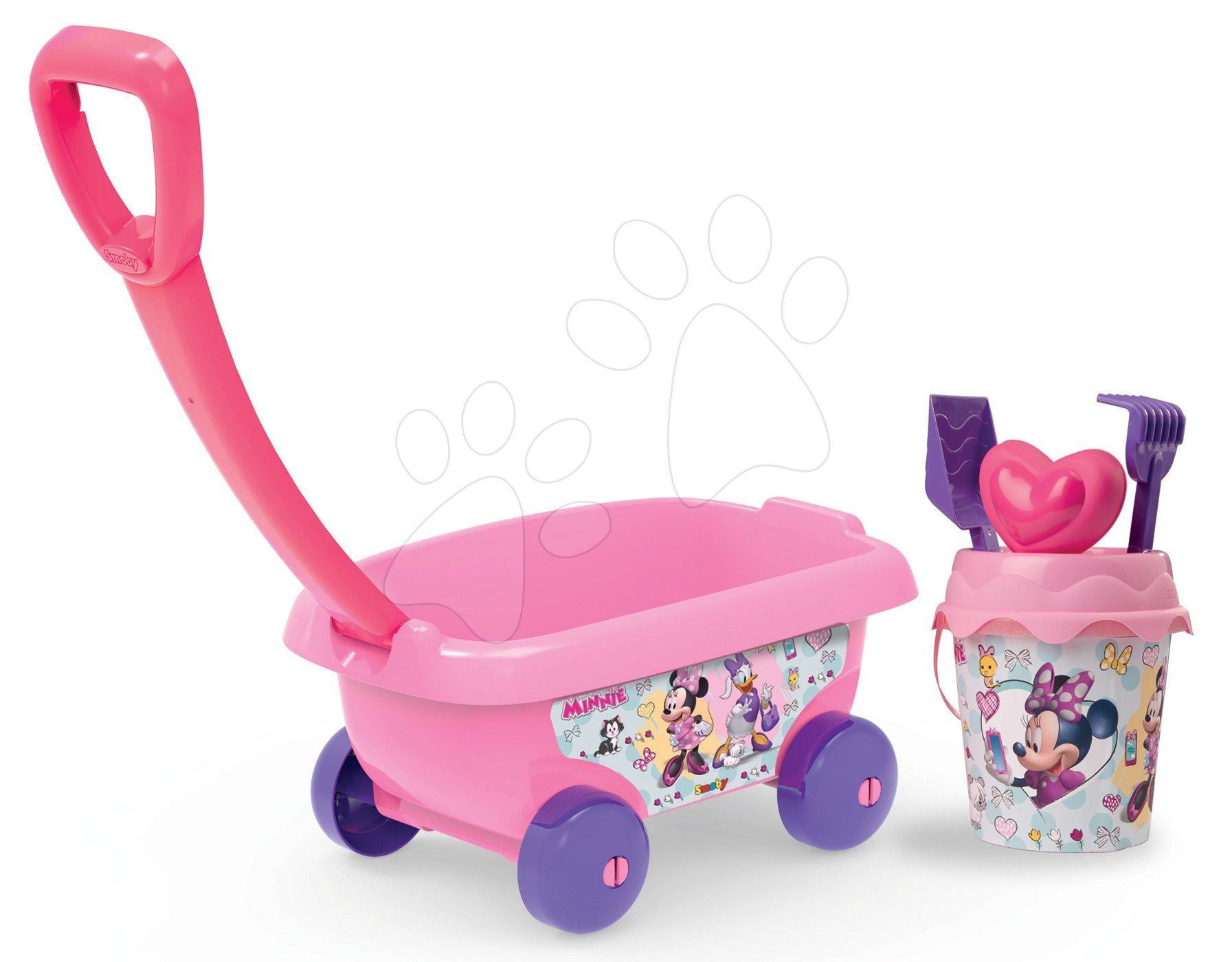 Vozík na tahání Minnie Smoby s kbelík setem do písku růžový od 18 měsíců