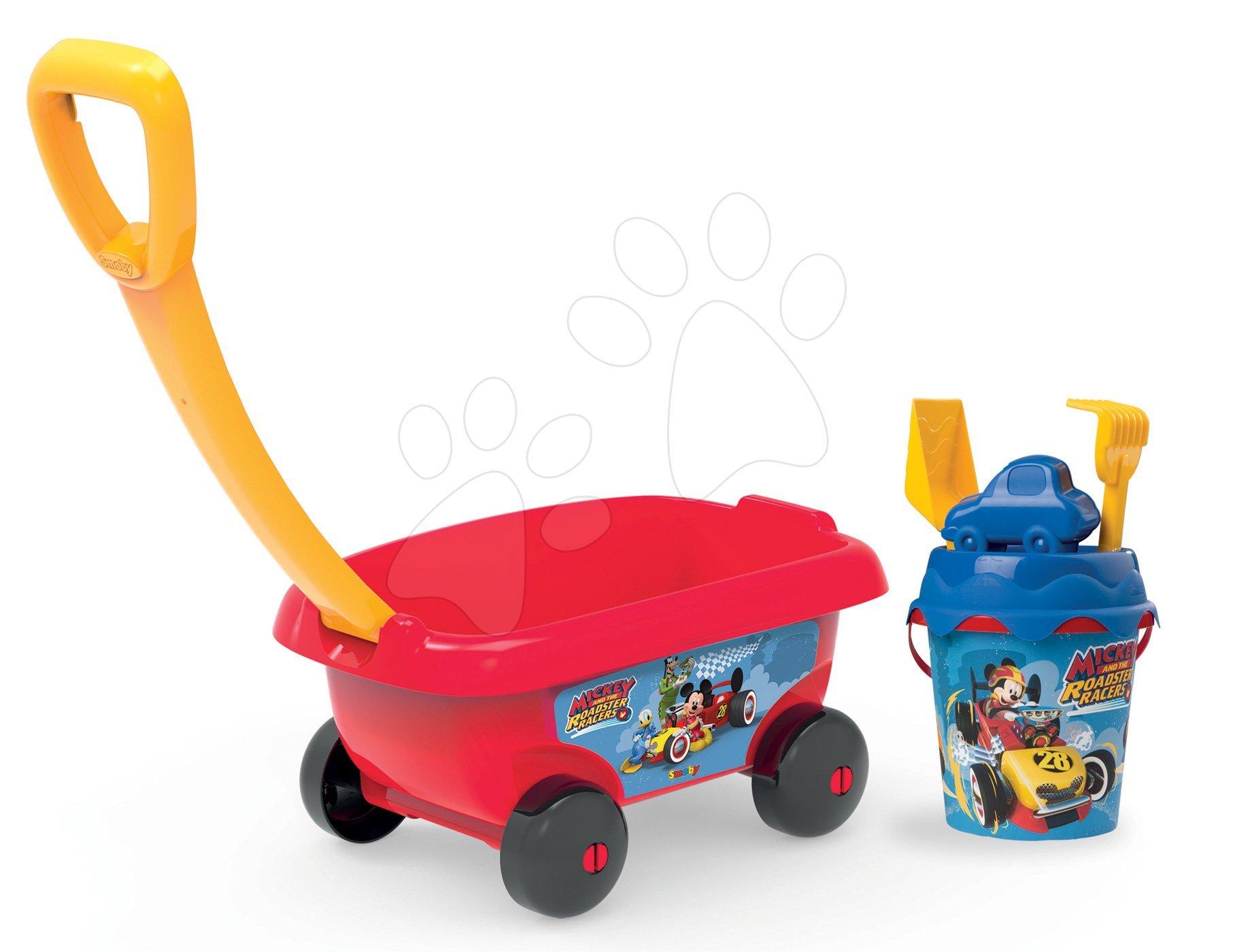 Vozík na tahání Mickey Smoby s kbelík setem do písku (výška kbelíku 18 cm) od 18 měsíců