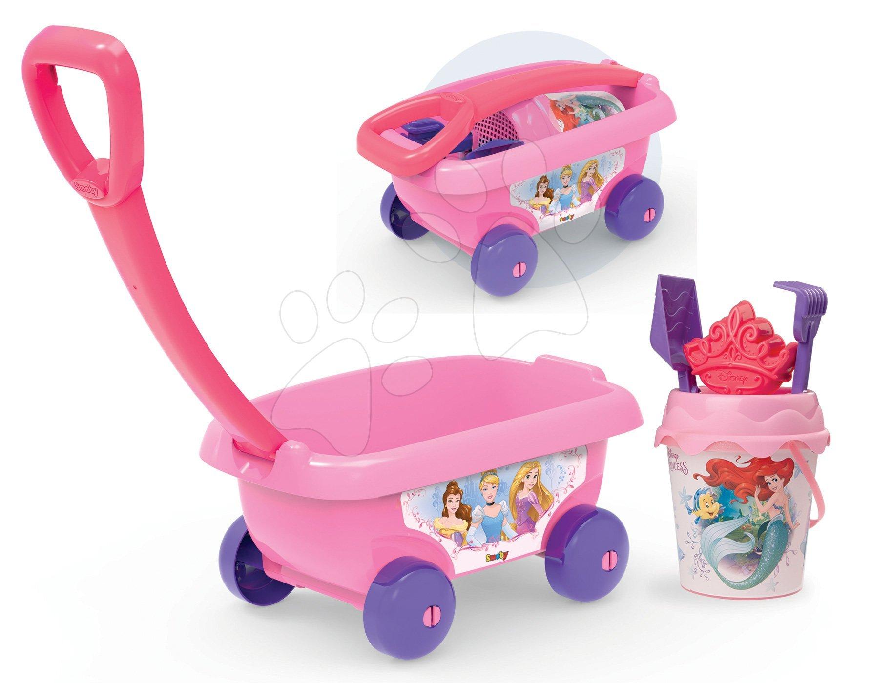 Vozík na ťahanie Disney Princezné Smoby s vedro setom do piesku (výška vedierka 18 cm) ružový od 18 mes