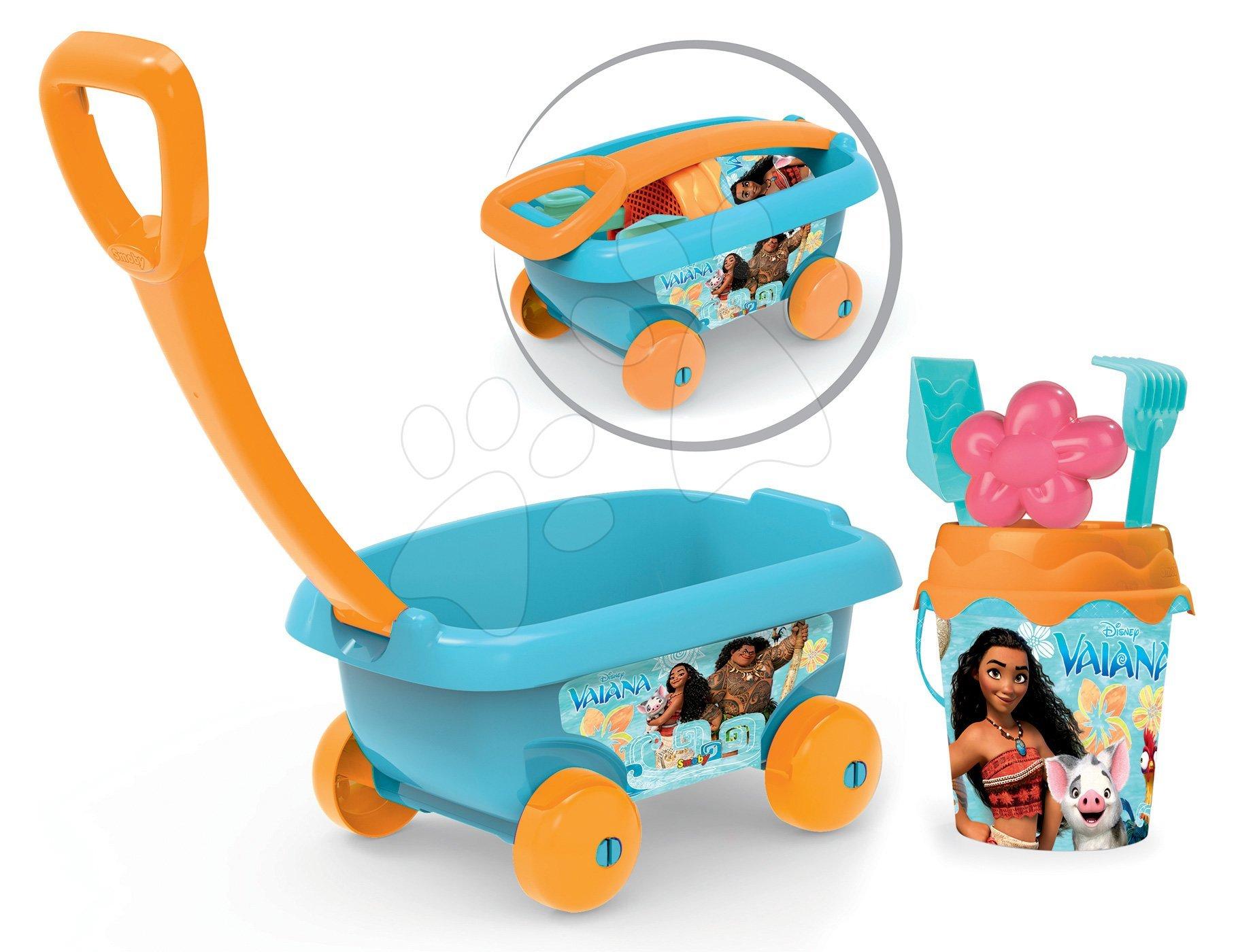 Vozík na tahání Vaiana Smoby s kbelík setem do písku (výška kbelíku 18 cm) tyrkysový od 18 měsíců